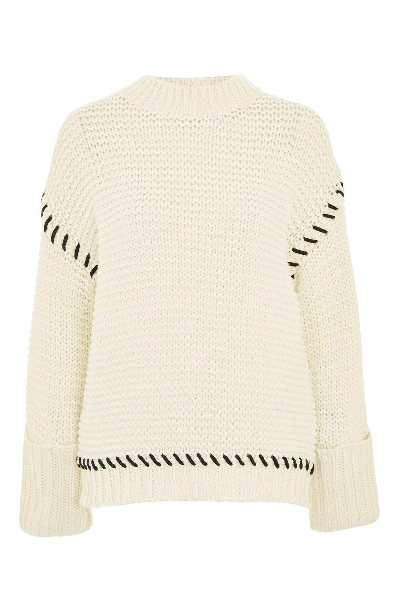 Whipstitch Sweater,                             Alternate thumbnail 5, color,                             Cream Multi