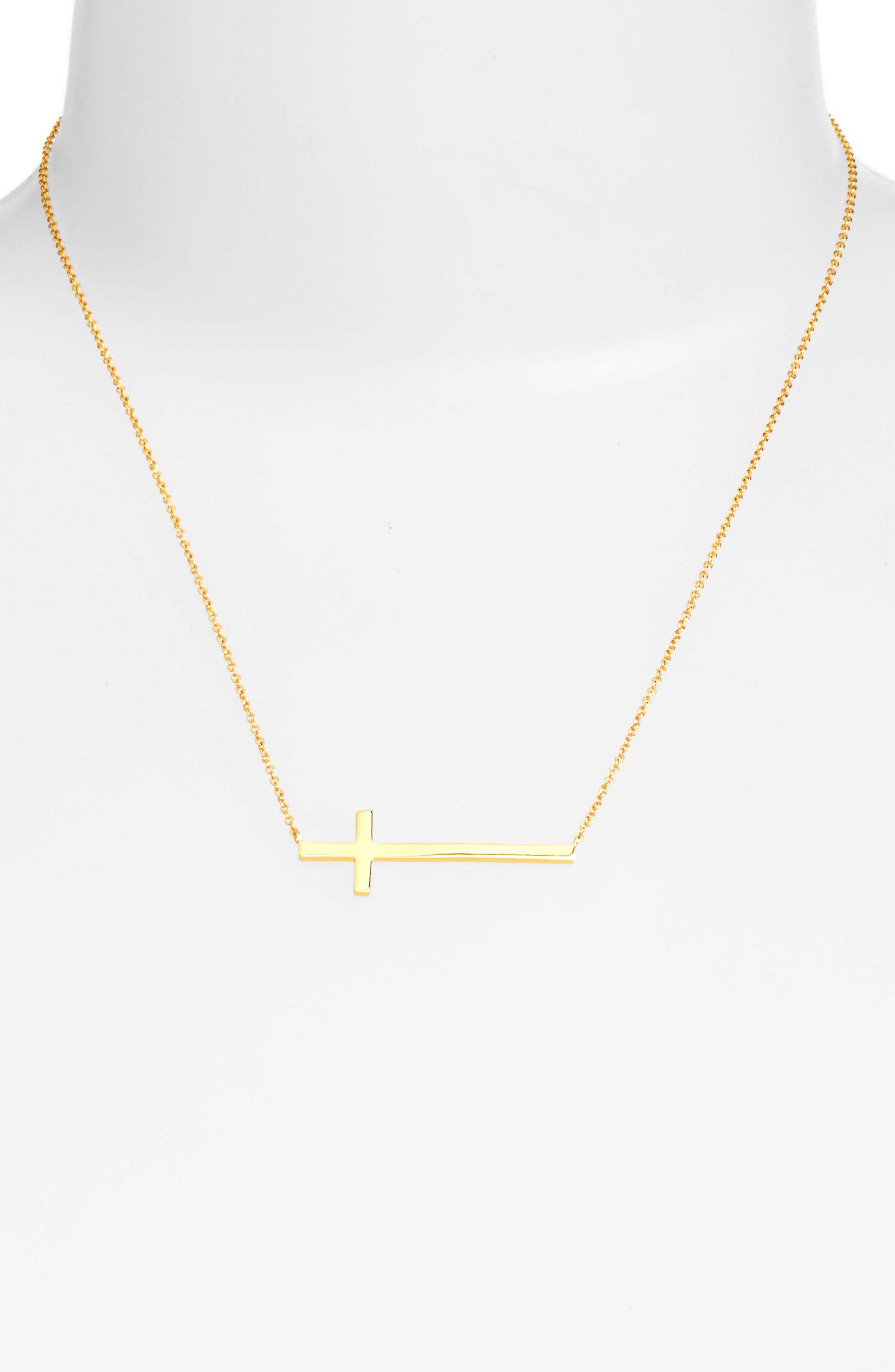 Alternate Image 2  - Argento Vivo Modern Sideways Cross Pendant Necklace