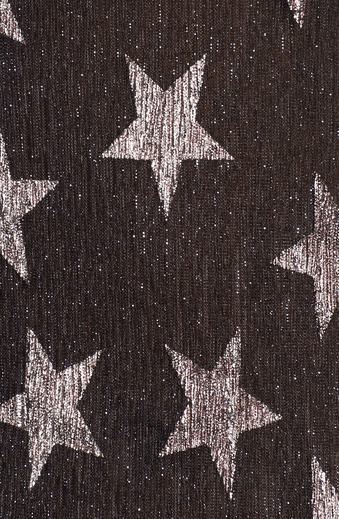 Metallic Star Tee,                             Alternate thumbnail 5, color,                             Black Metallic