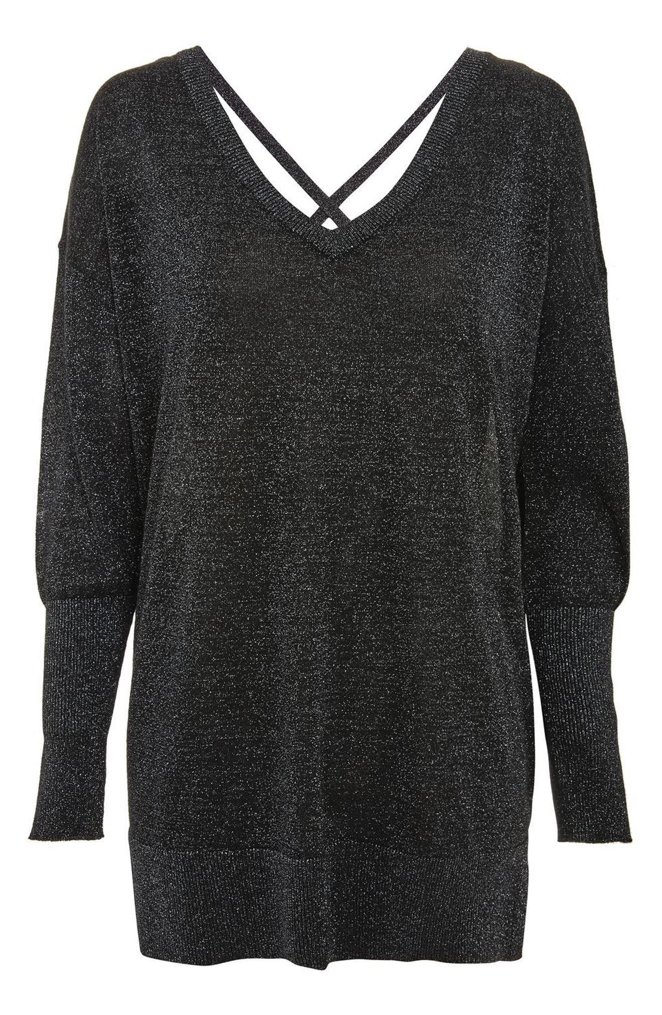 Cross Back Longline Metallic Sweater,                             Alternate thumbnail 4, color,                             Black