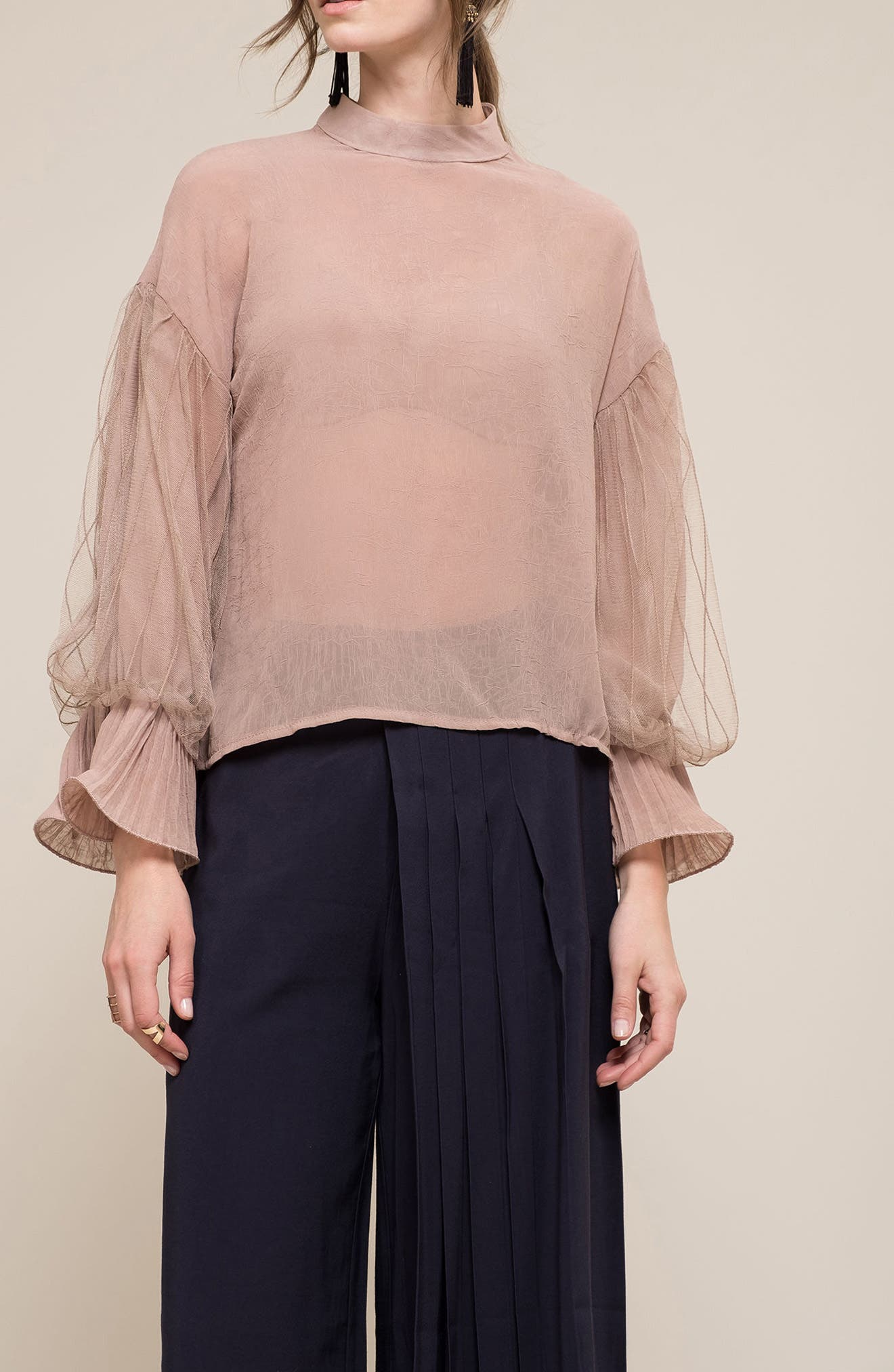 Tulle Puff Sleeve Top,                             Alternate thumbnail 7, color,                             Dusty Rose