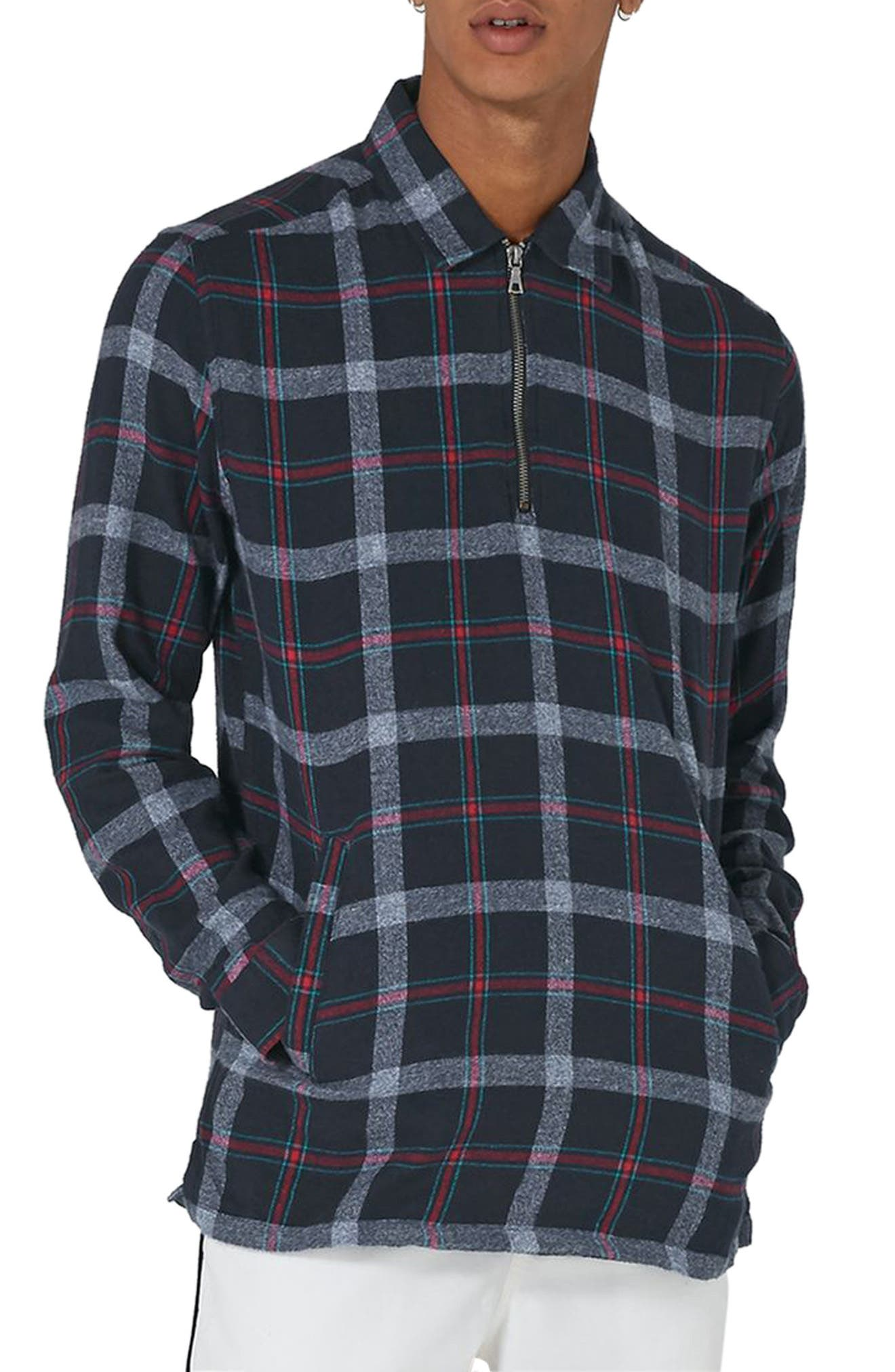 Half Zip Check Shirt,                         Main,                         color, Blue Multi