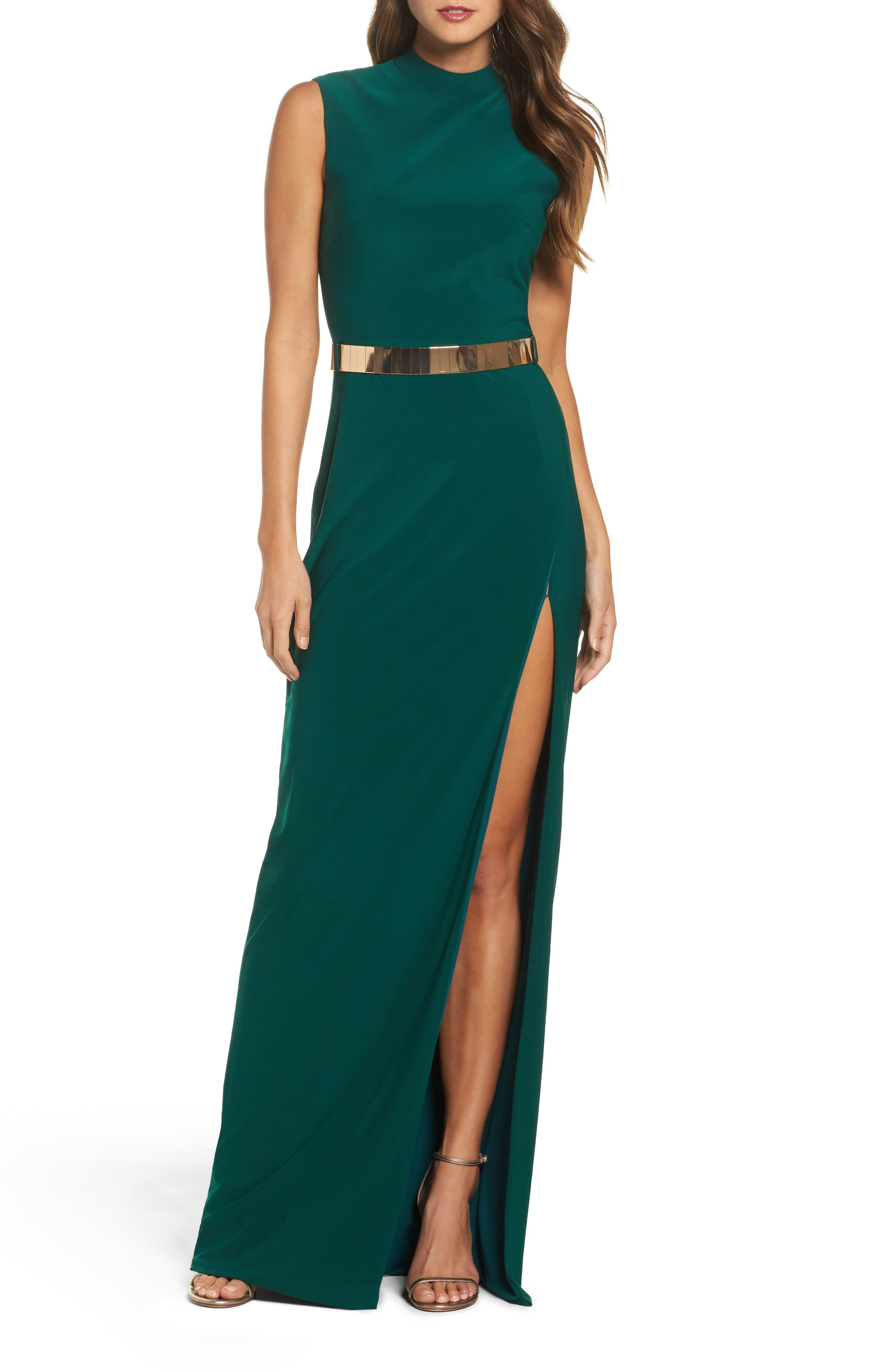 Mac Duggal Belted Mock Neck Sheath Gown