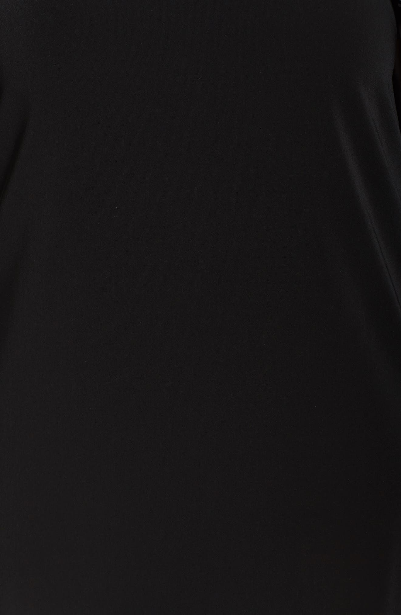 Pleat Ruffle Trim Shift Dress,                             Alternate thumbnail 5, color,                             Black