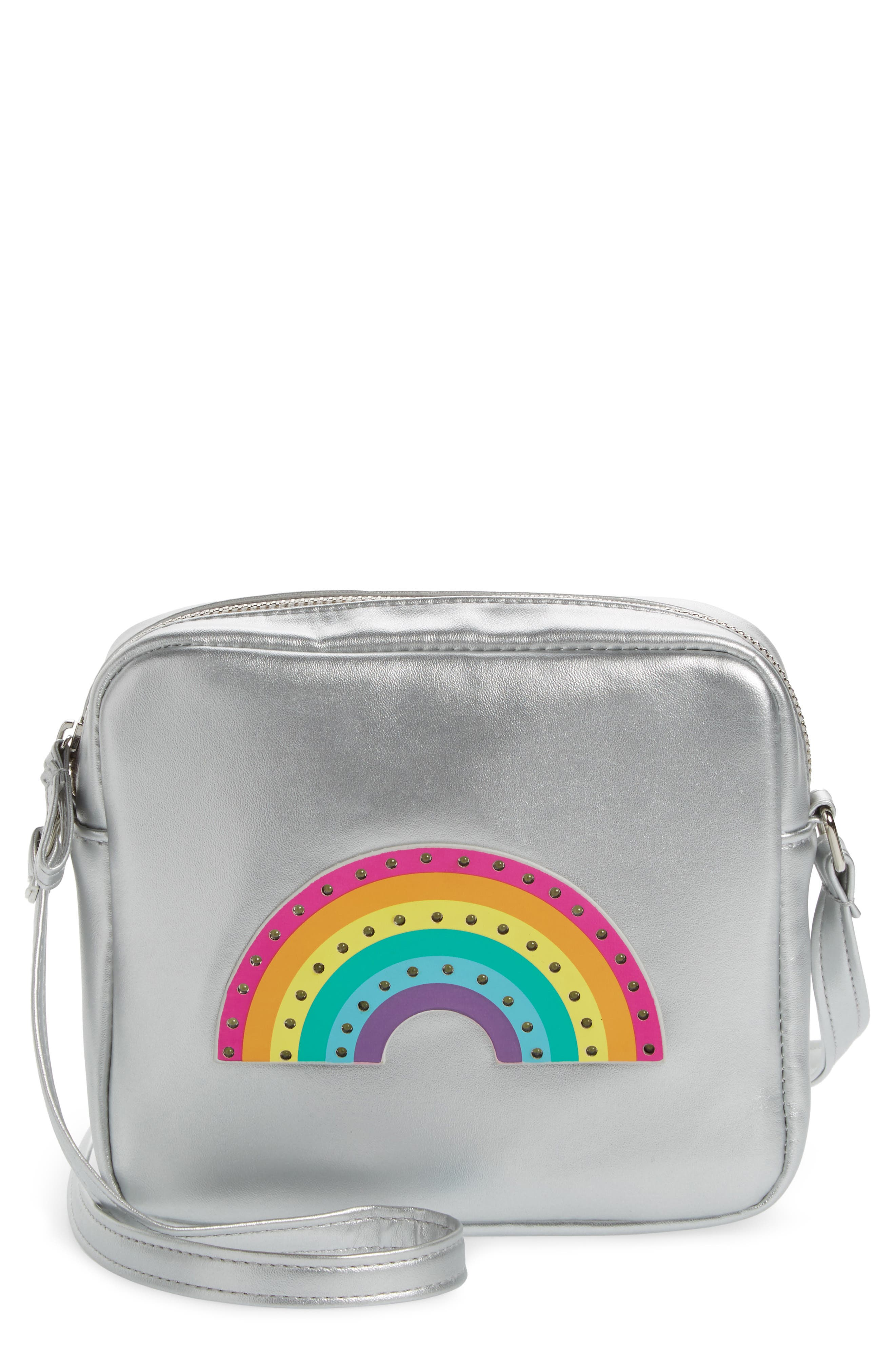 Capelli LED Light-Up Rainbow Faux Leather Crossbody Bag,                         Main,                         color, Silver Combo
