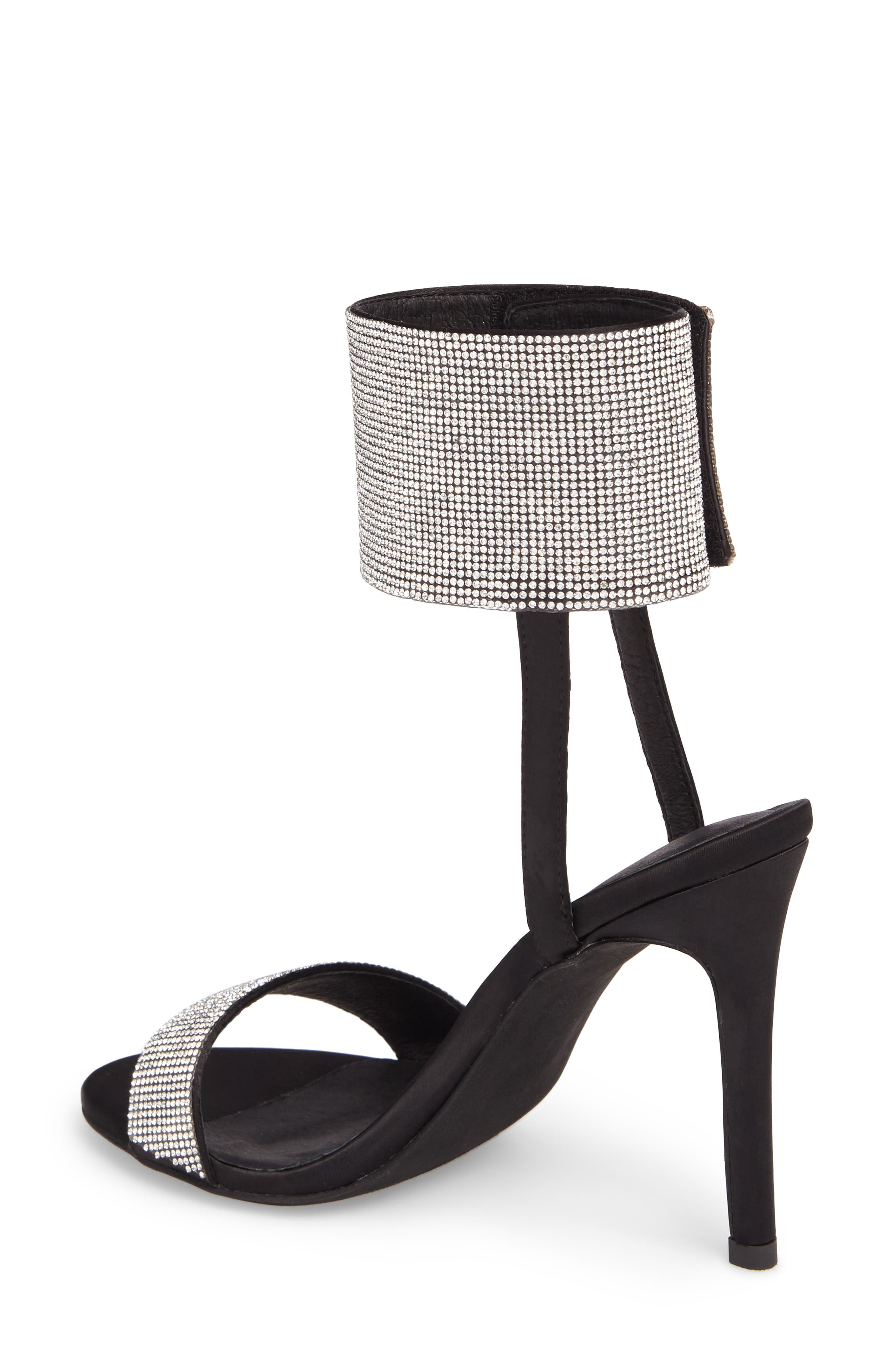 Frost Ankle Cuff Sandal,                             Alternate thumbnail 2, color,                             Black Silver