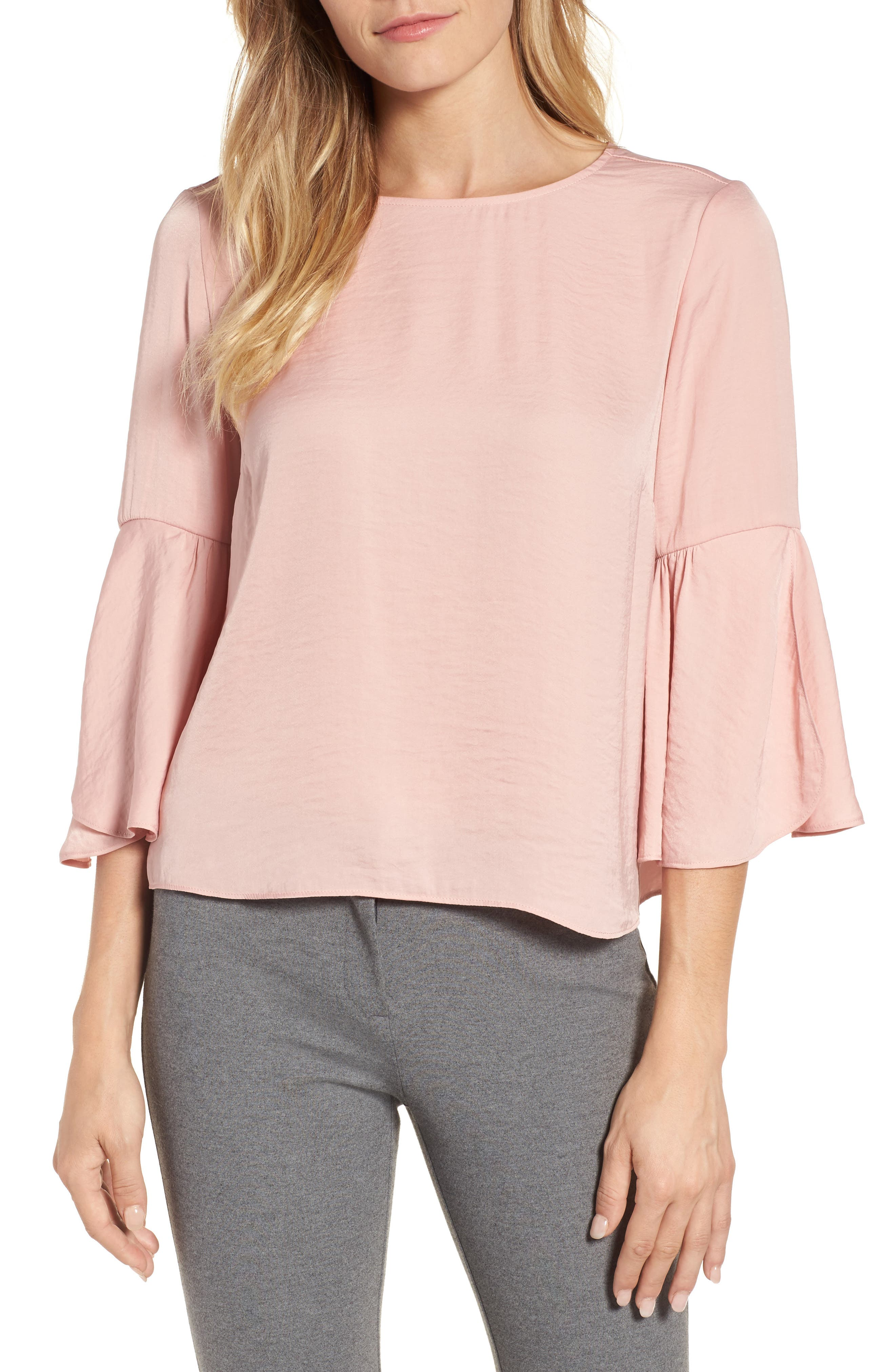 Main Image - Vince Camuto Hammer Satin Bell Sleeve Blouse