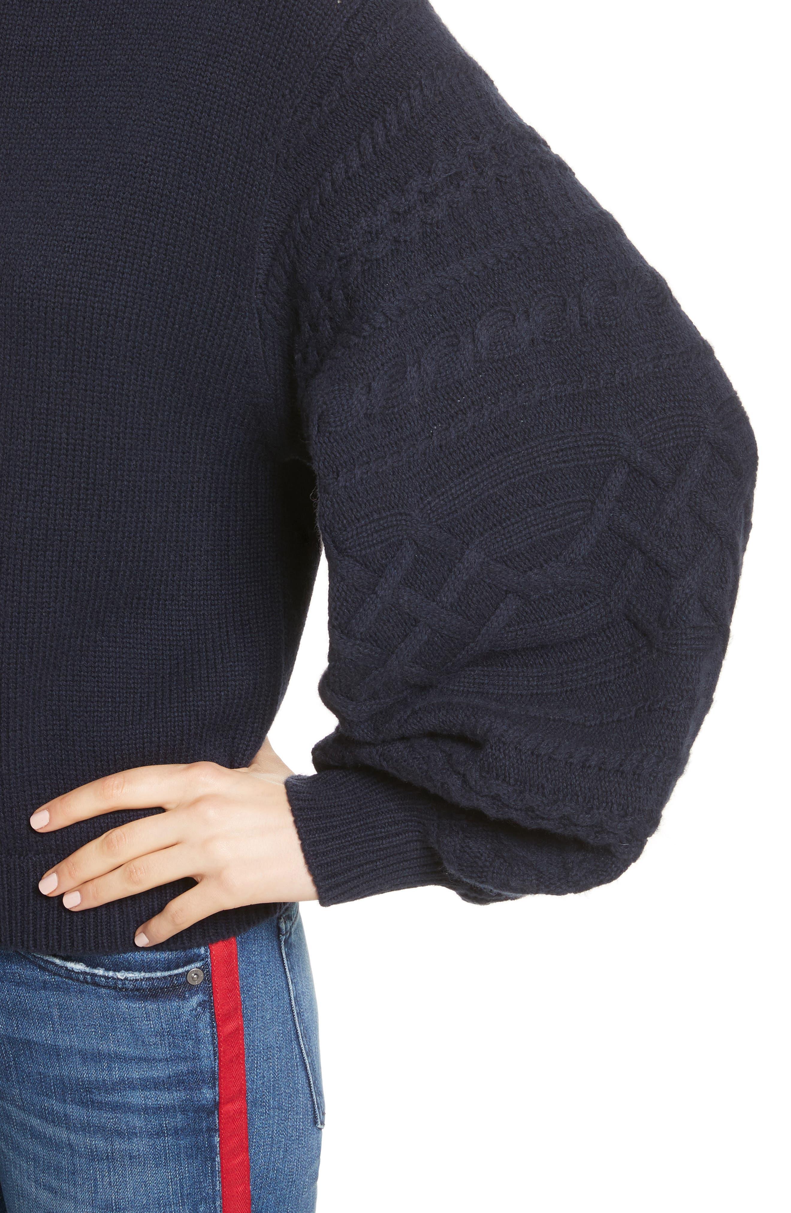 Lathen Mock Neck Sweater,                             Alternate thumbnail 4, color,                             Midnight