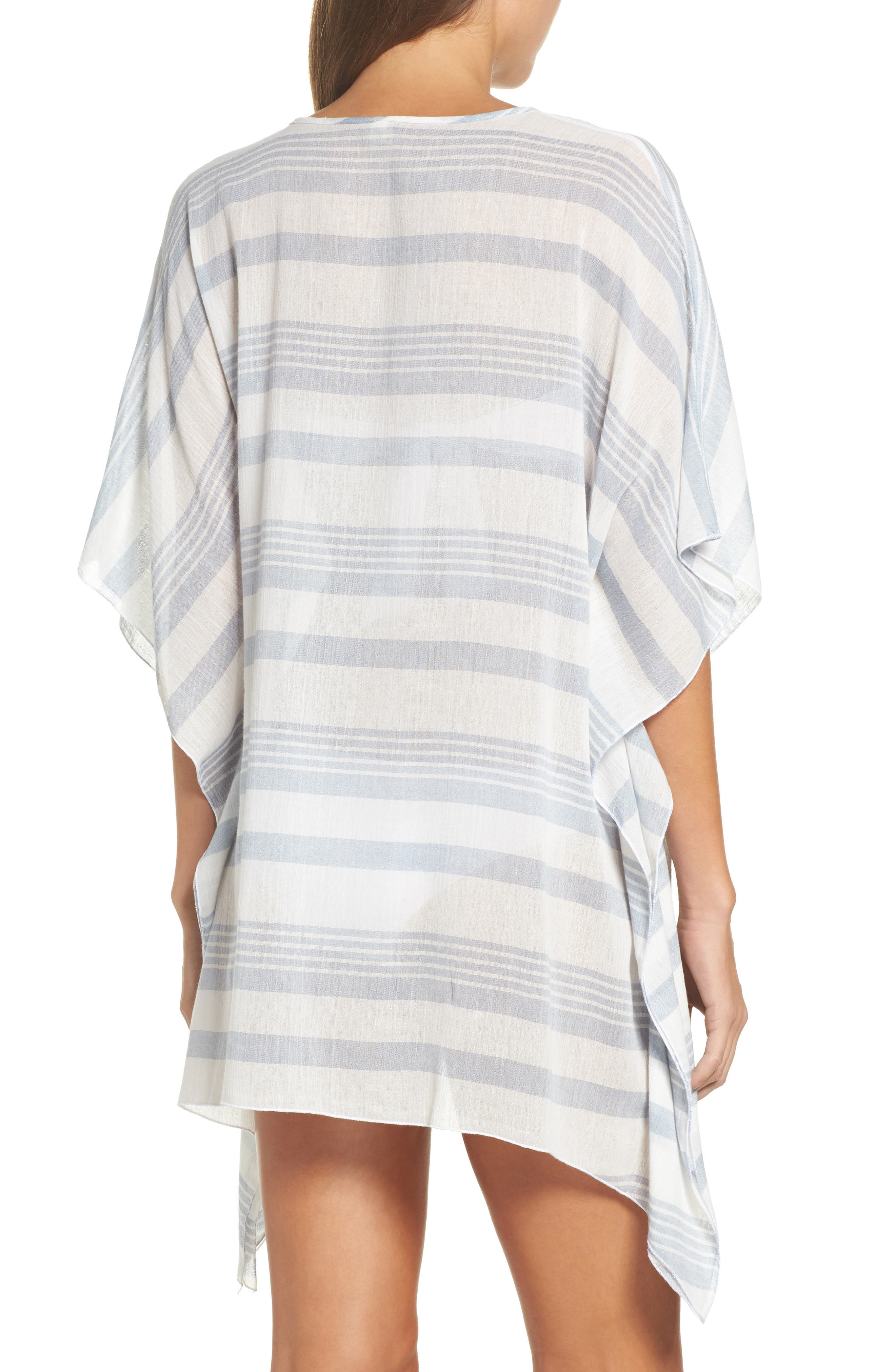 Stripe Poncho Cover-Up,                             Alternate thumbnail 2, color,                             Dusty Blue Stripe