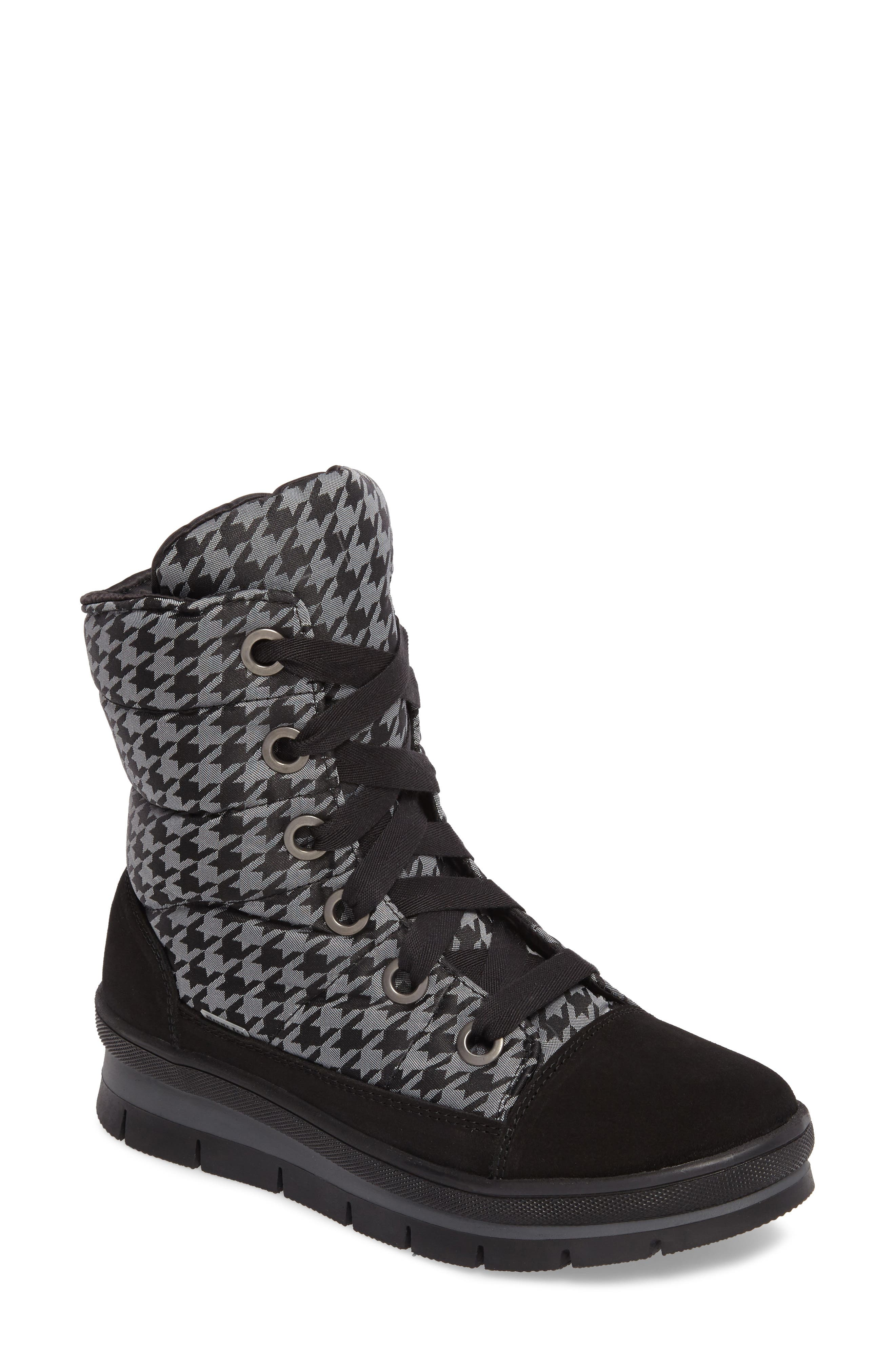 Meribel Waterproof Channel Quilted Lace Up Sneaker Boot,                             Main thumbnail 1, color,                             Black Pull Pied