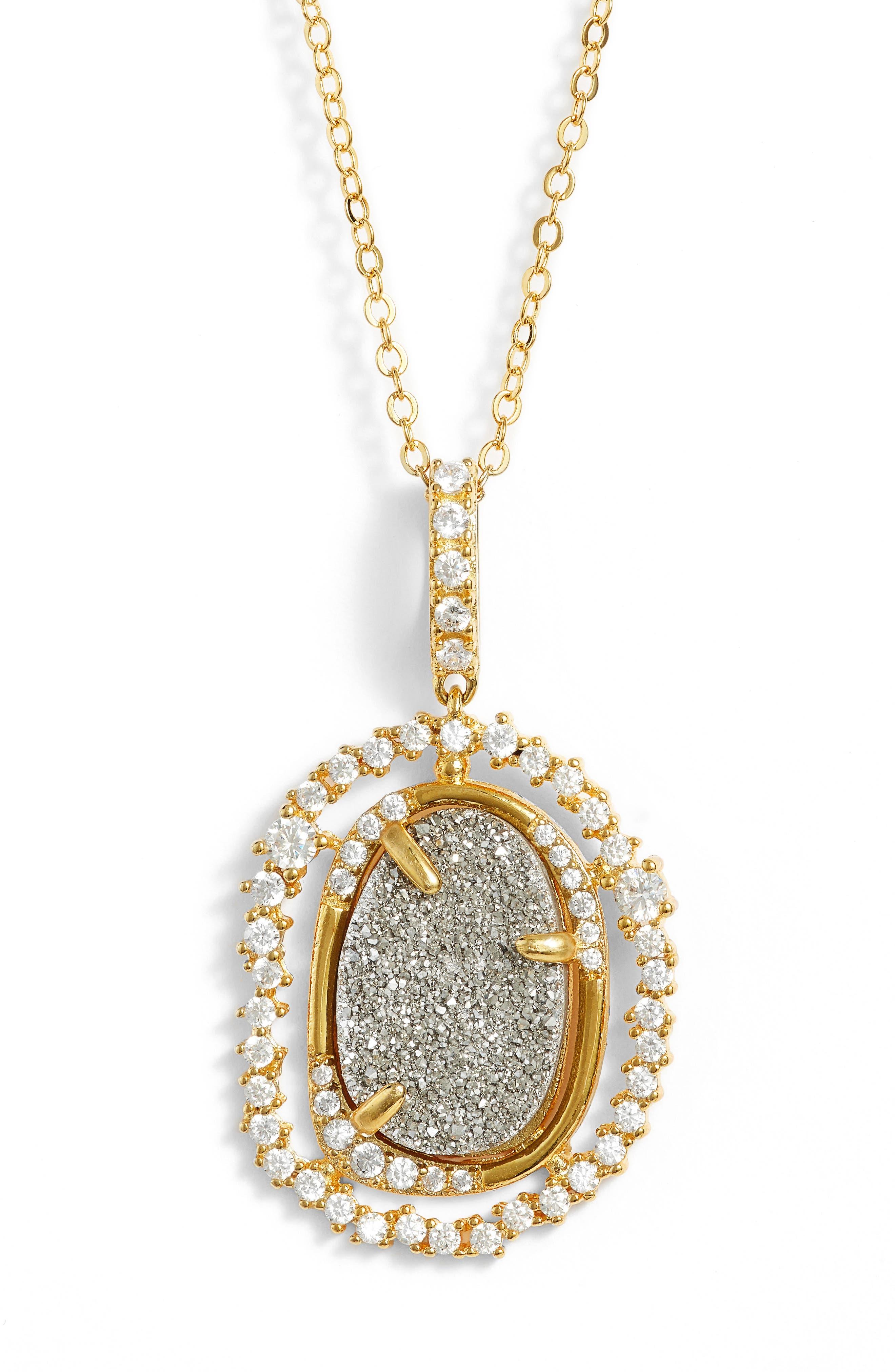 Loriann Pendant Necklace,                             Alternate thumbnail 2, color,                             Grey Druzy/ Gold