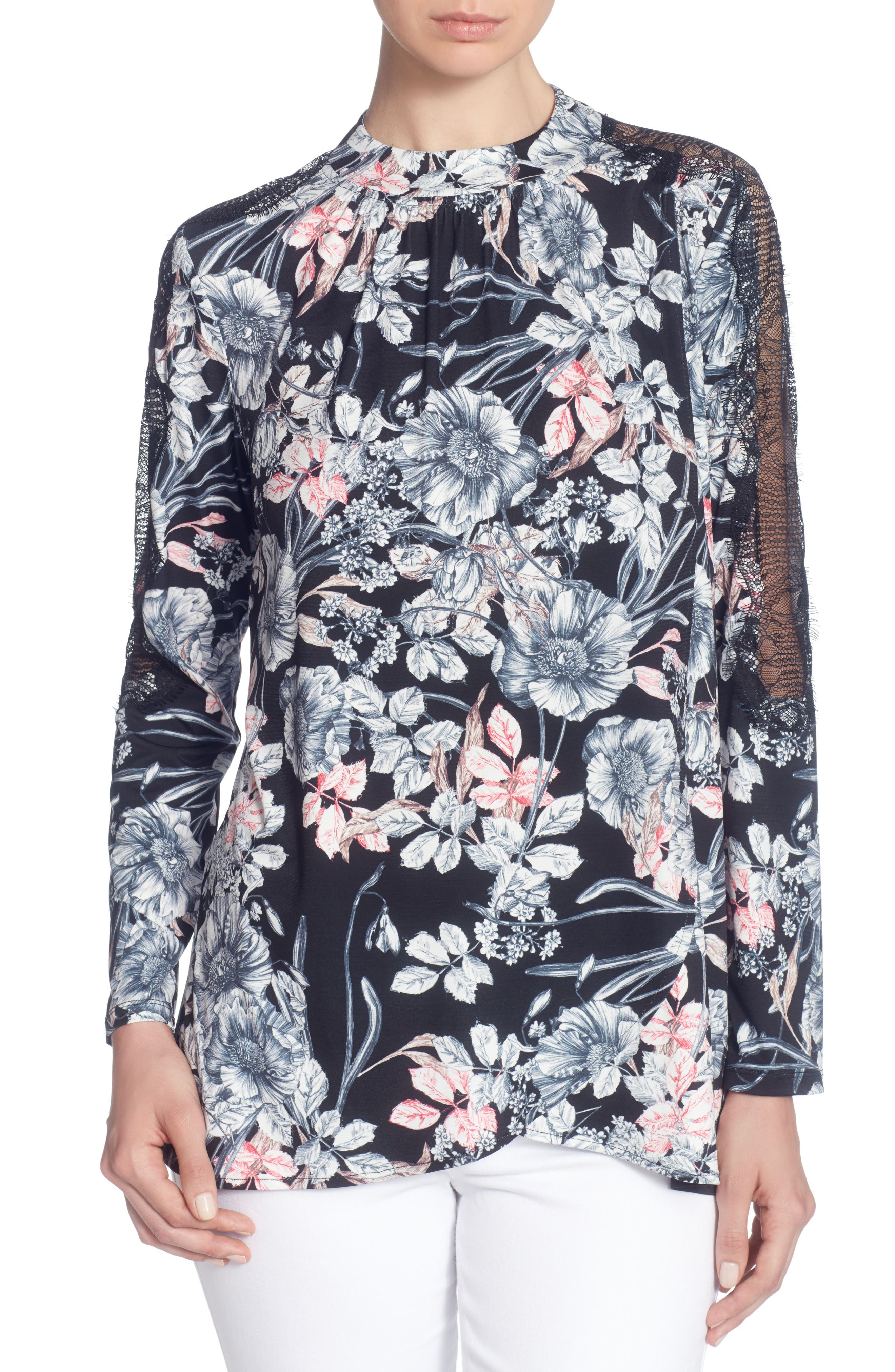 Poe Blouse,                         Main,                         color, French Floral Black