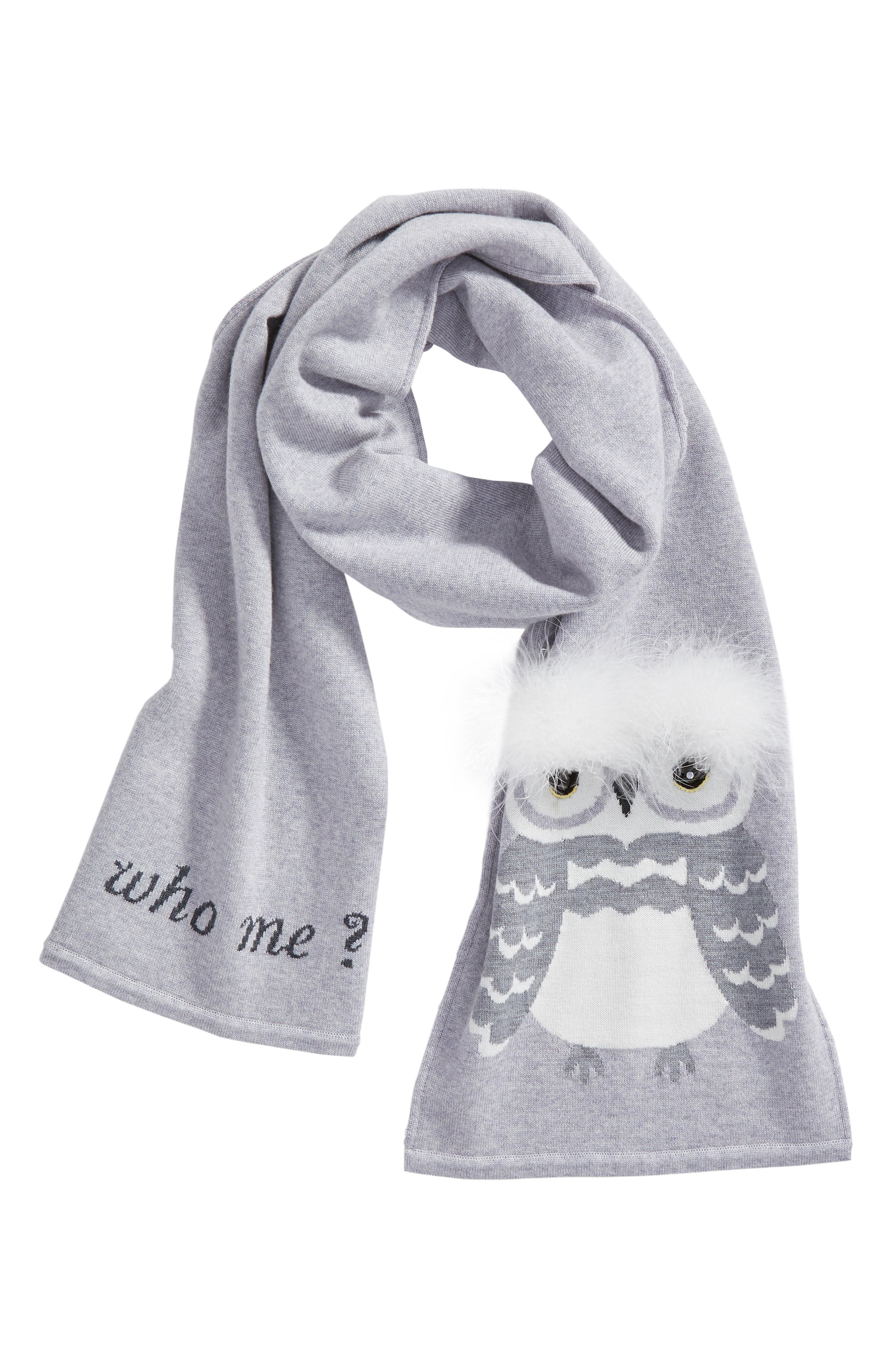 who me owl merino wool muffler,                             Alternate thumbnail 4, color,                             Heather Grey