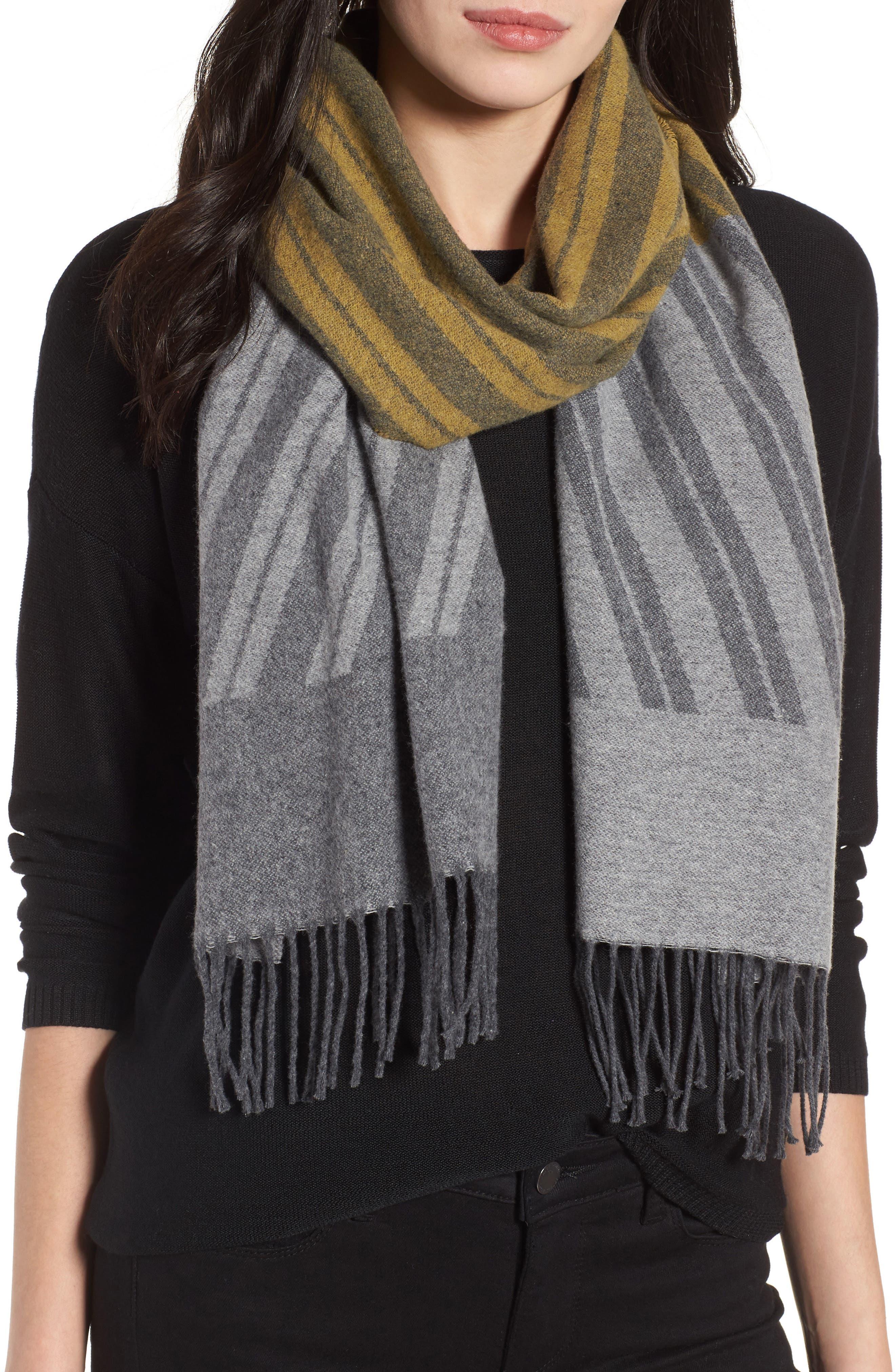 Eileen Fisher Colorblock Stripe Cotton Scarf