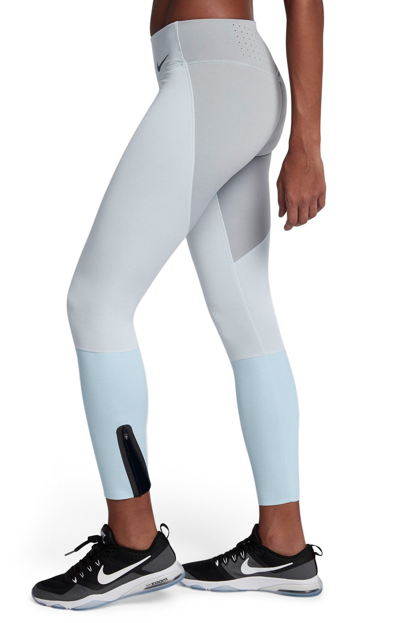 Legendary Mid Rise Zip Cuff Training Tights,                             Alternate thumbnail 3, color,                             Platinum/ Heather/ Blue/ Black