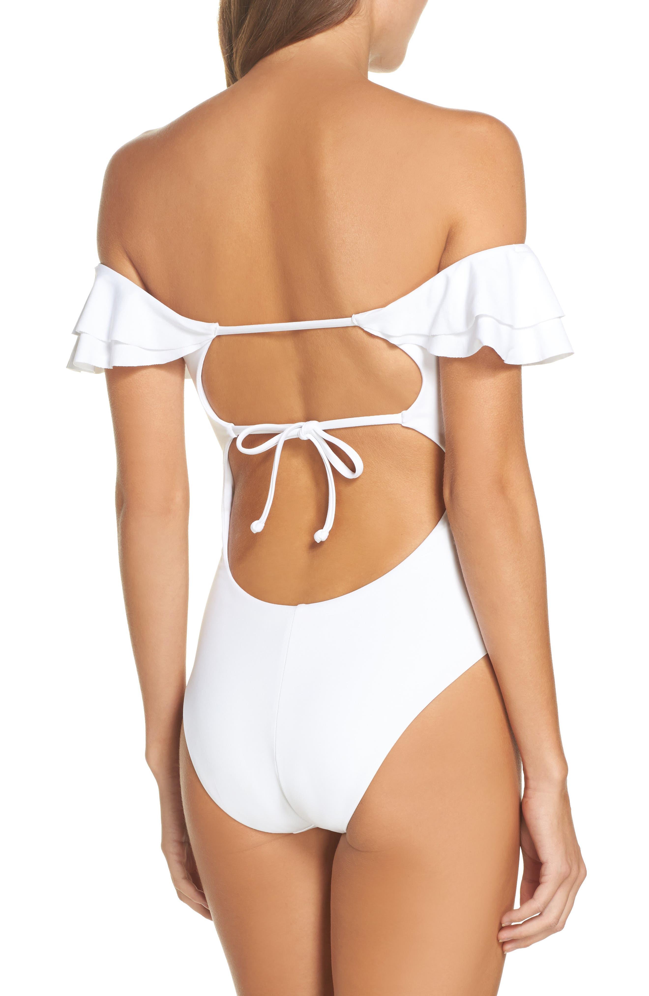 Alternate Image 2  - Becca Color Splash Off the Shoulder One-Piece Swimsuit