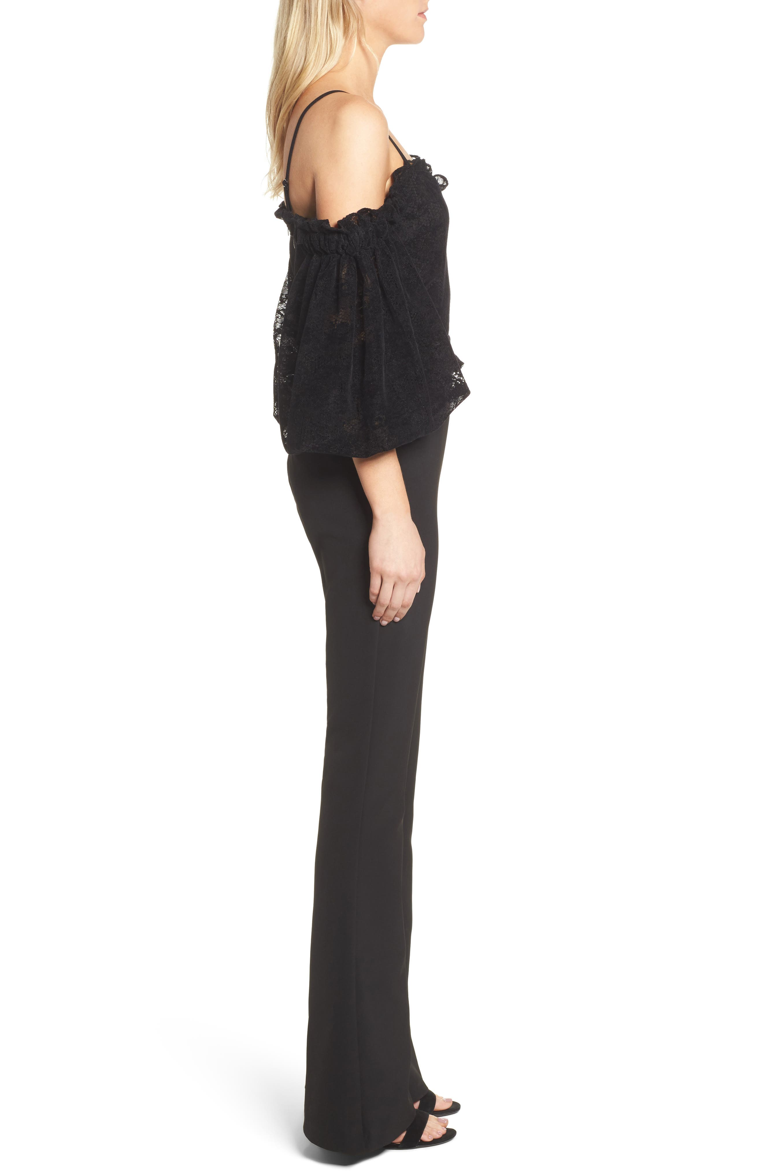 Rowen Off the Shoulder Jumpsuit,                             Alternate thumbnail 3, color,                             Black