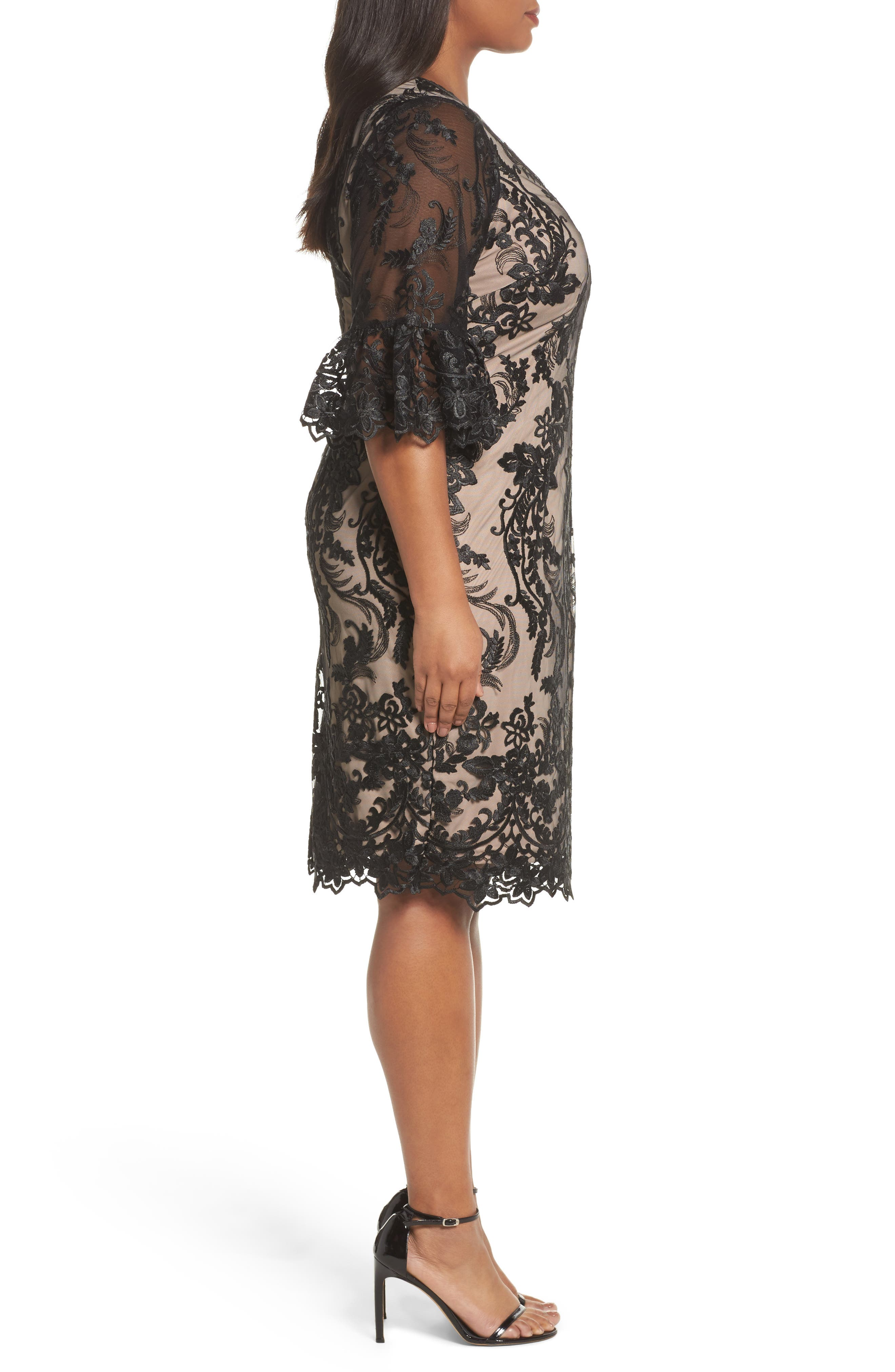 Alternate Image 3  - Adrianna Papell Flounce Sleeve Embroidered Lace Dress (Plus Size)