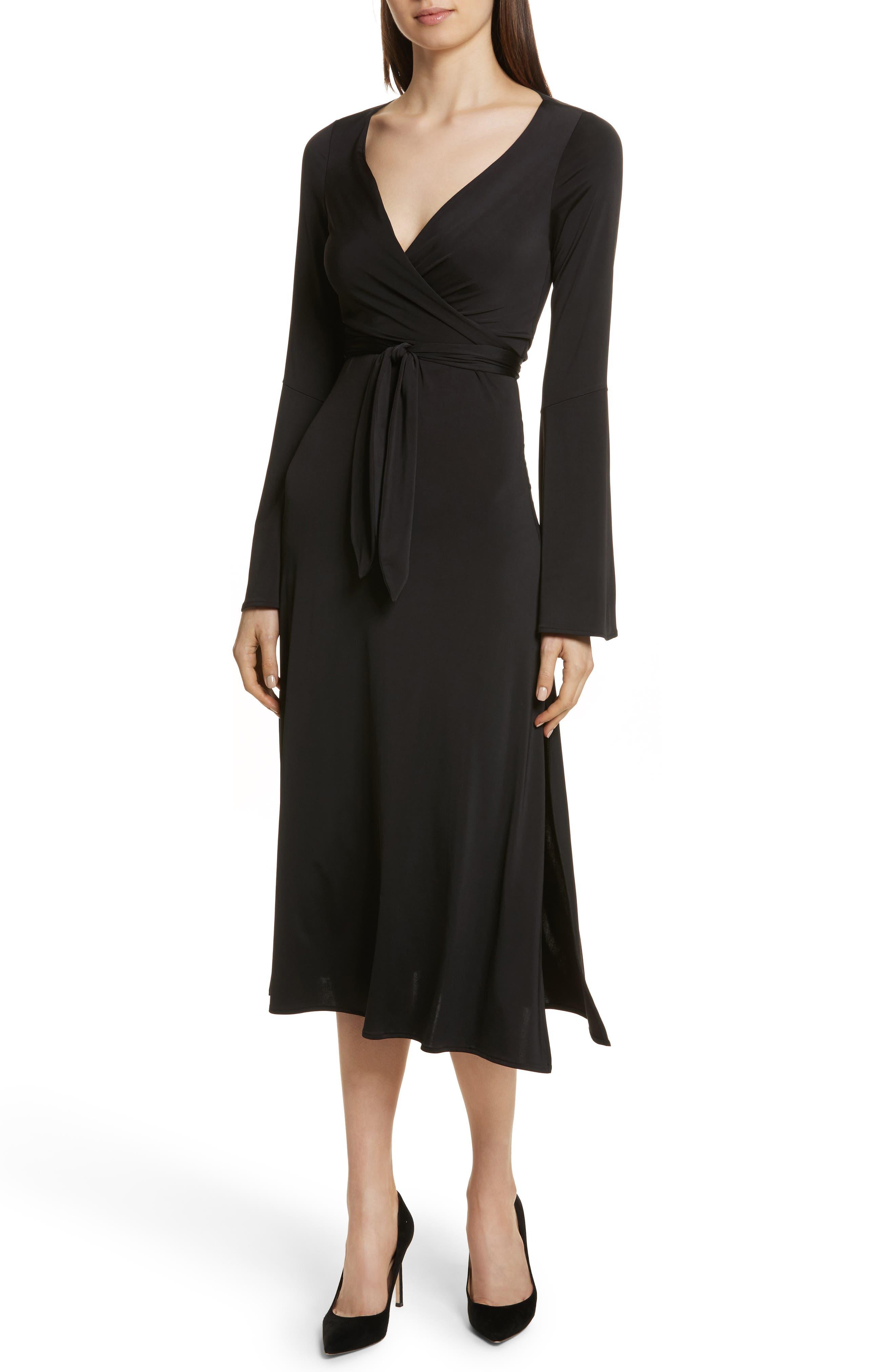 Lourdes Jersey Wrap Midi Dress,                         Main,                         color, Black