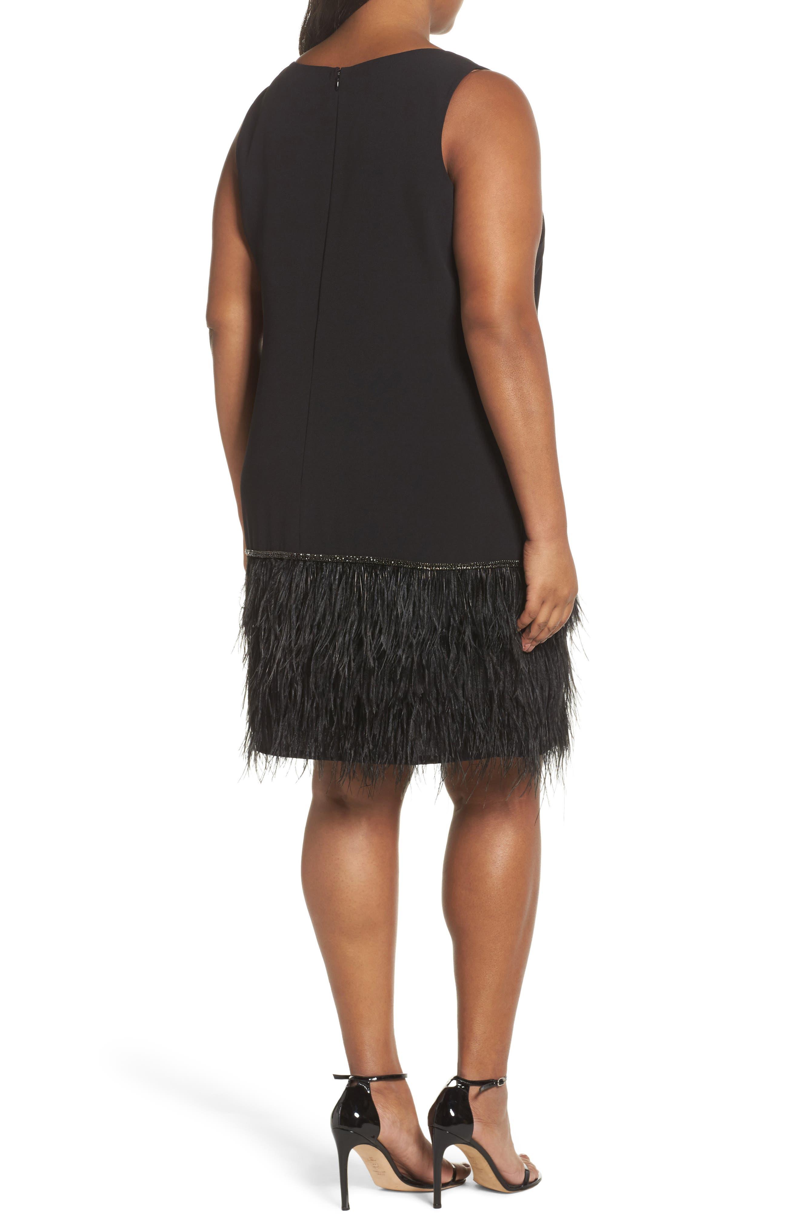 Feather Hem Shift Dress,                             Alternate thumbnail 2, color,                             Black