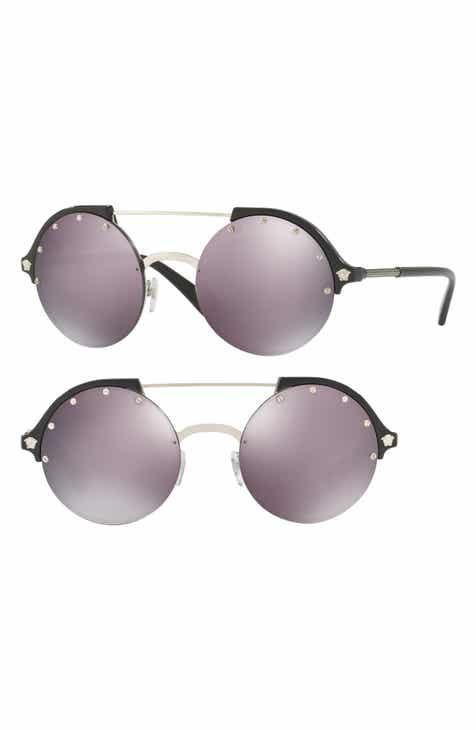 4e3f2d4026 Versace 53mm Mirrored Round Sunglasses