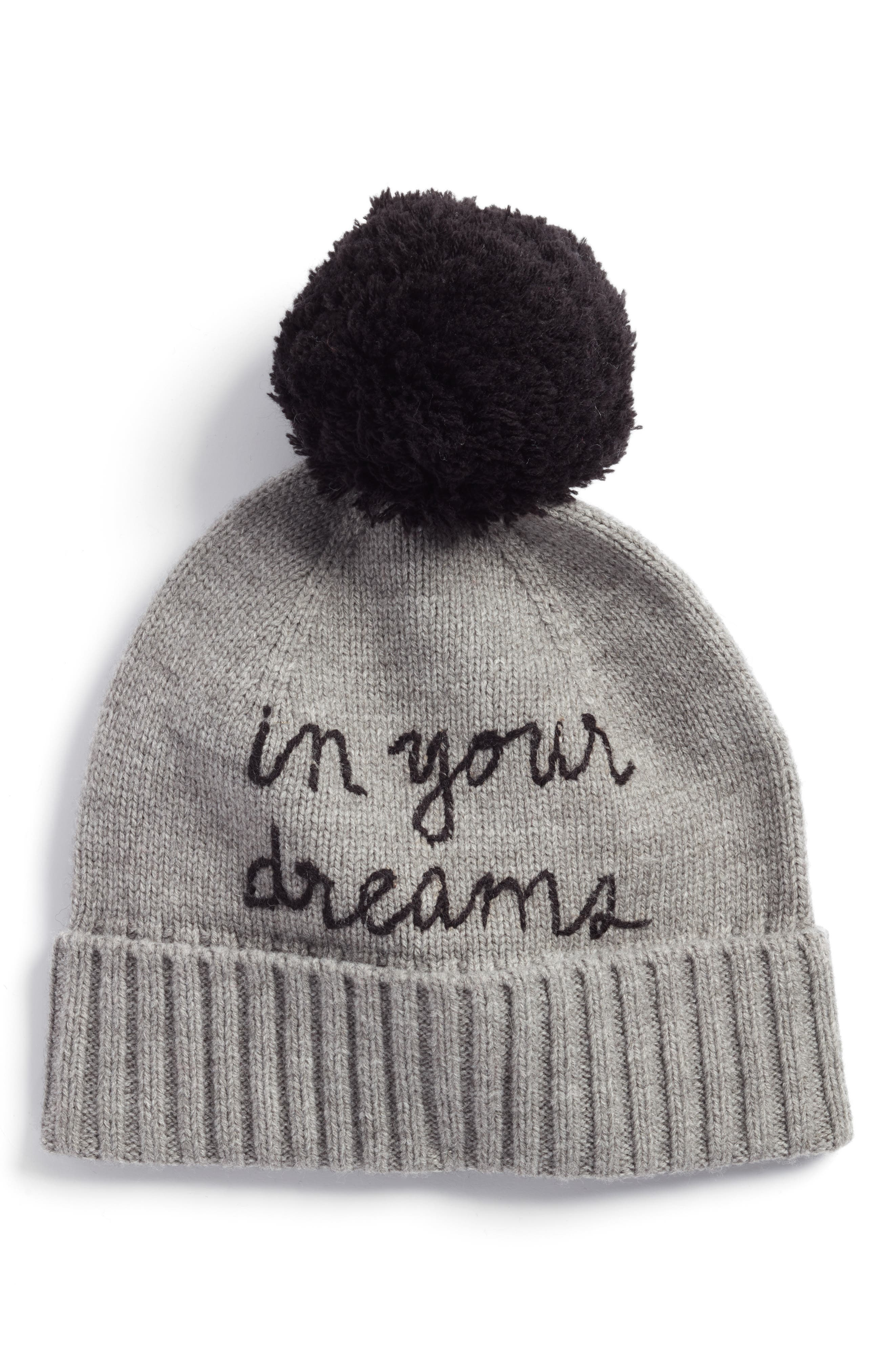 in your dreams pom beanie,                         Main,                         color, Heather Gray/ Black