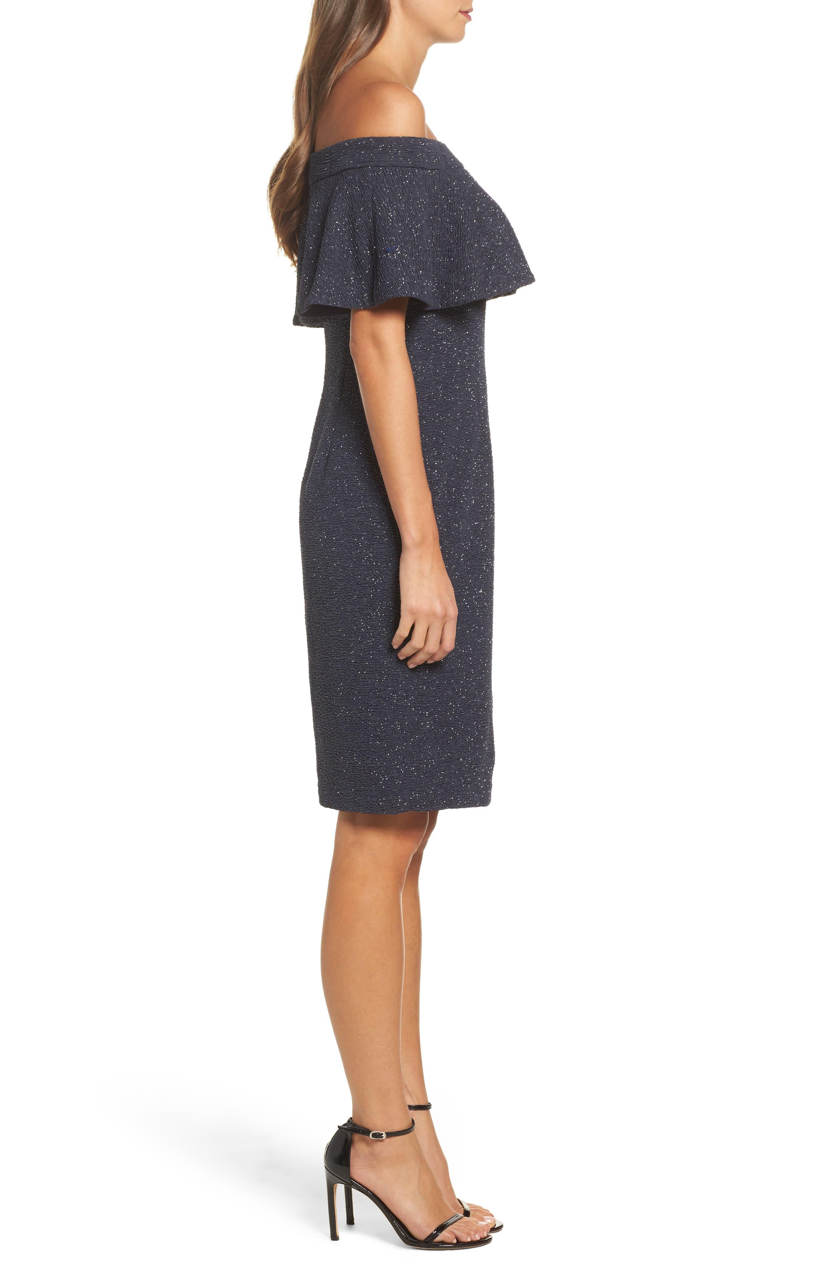 Alternate Image 3  - Eliza J Glitter Knit Ruffle Off the Shoulder Dress
