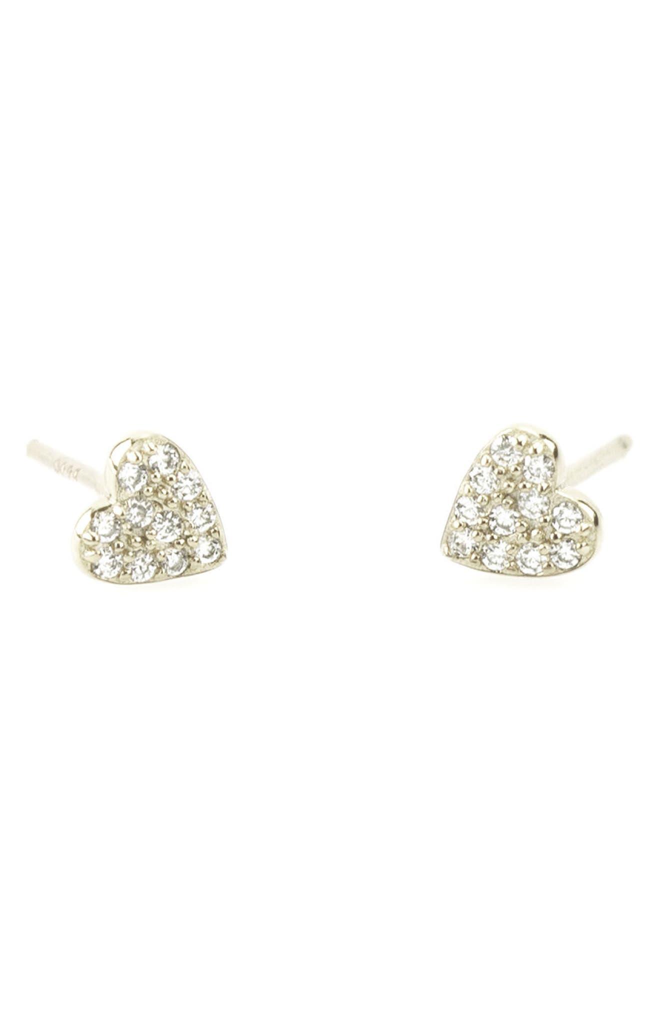 Pavé Heart Stud Earrings,                         Main,                         color, Silver