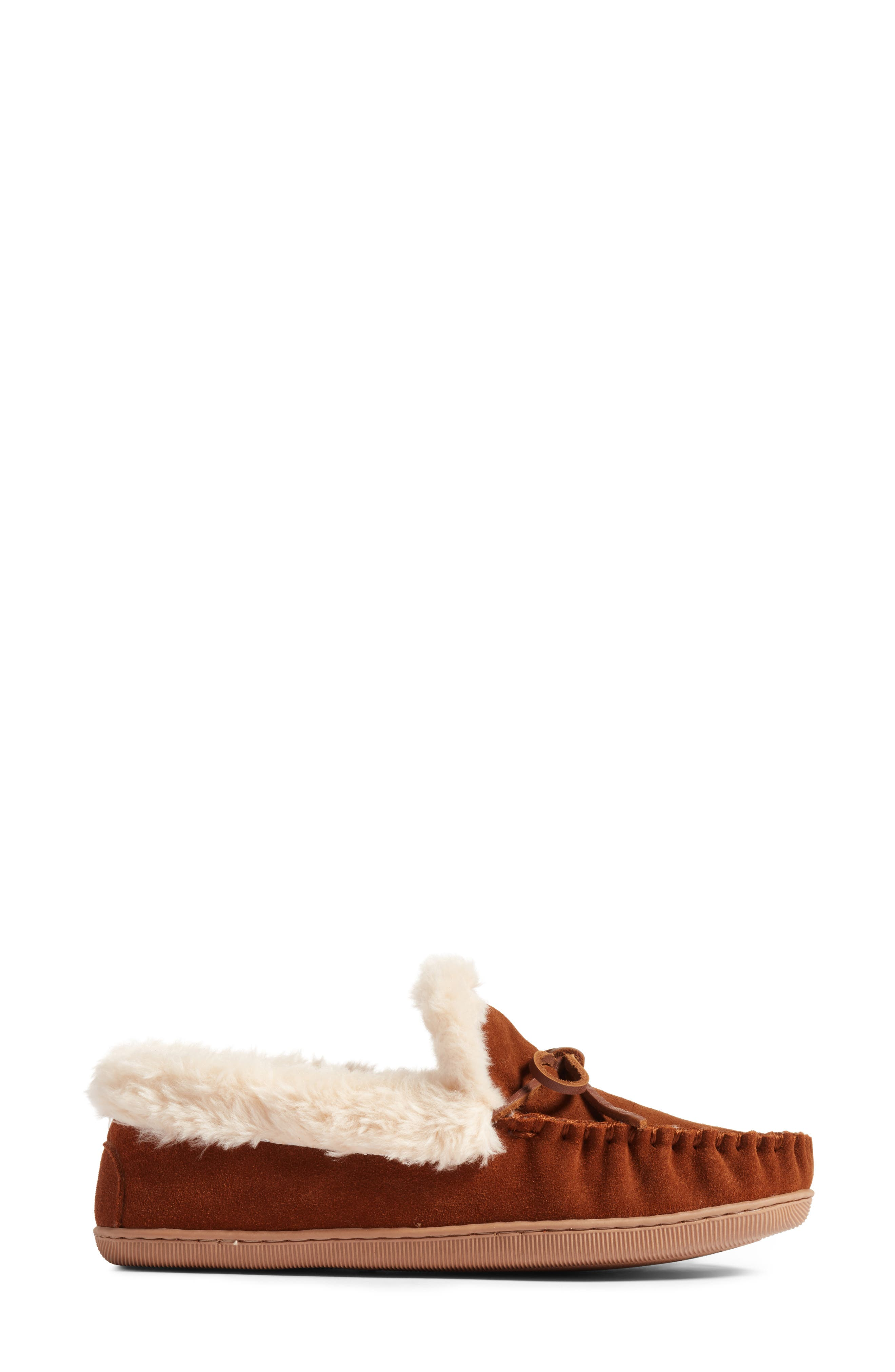 J.Crew Lodge Faux Shearling Moc Slipper,                             Alternate thumbnail 4, color,                             Dark Nutmeg Suede
