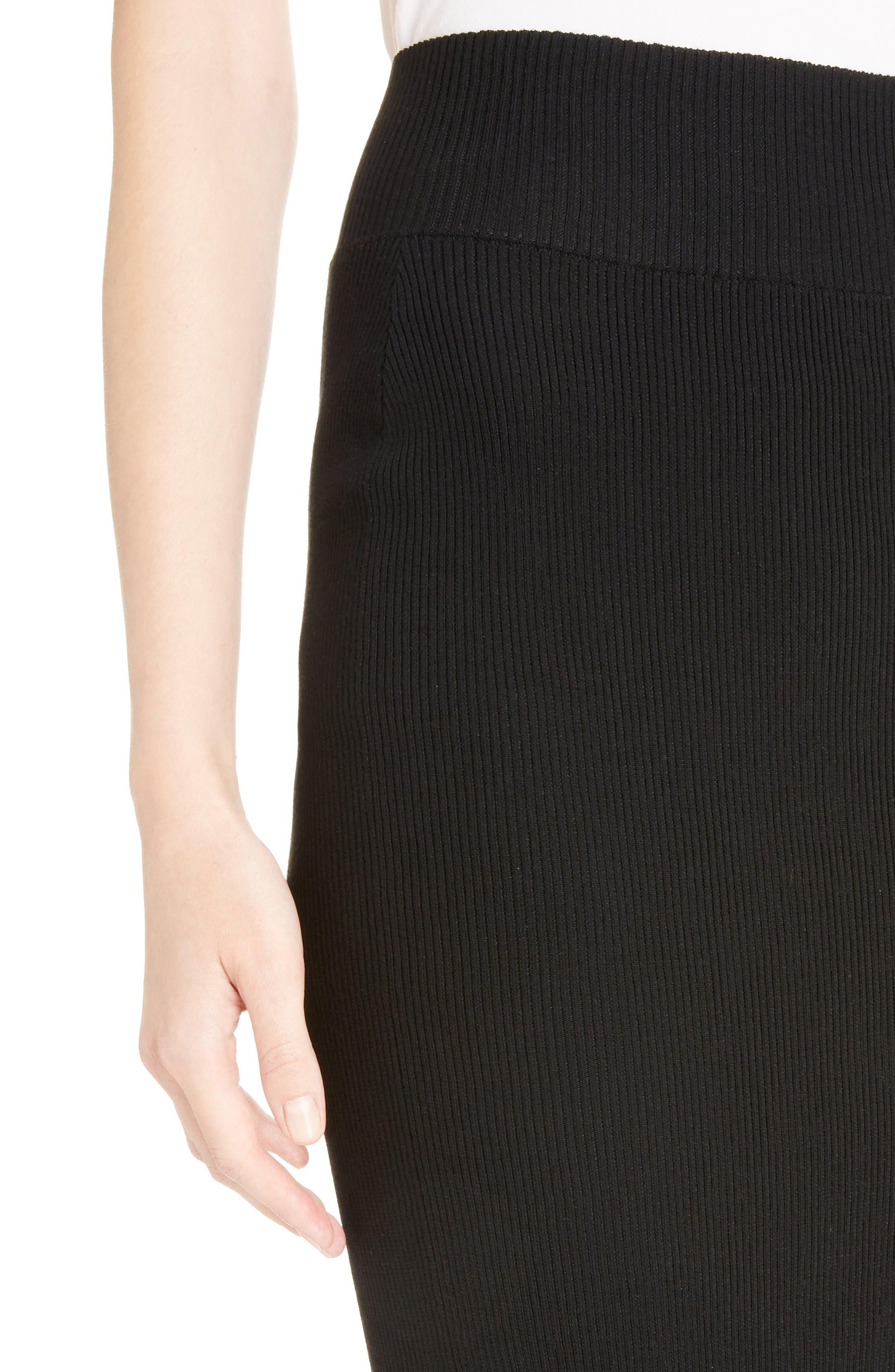 Stretch Knit Midi Skirt,                             Alternate thumbnail 4, color,                             Black