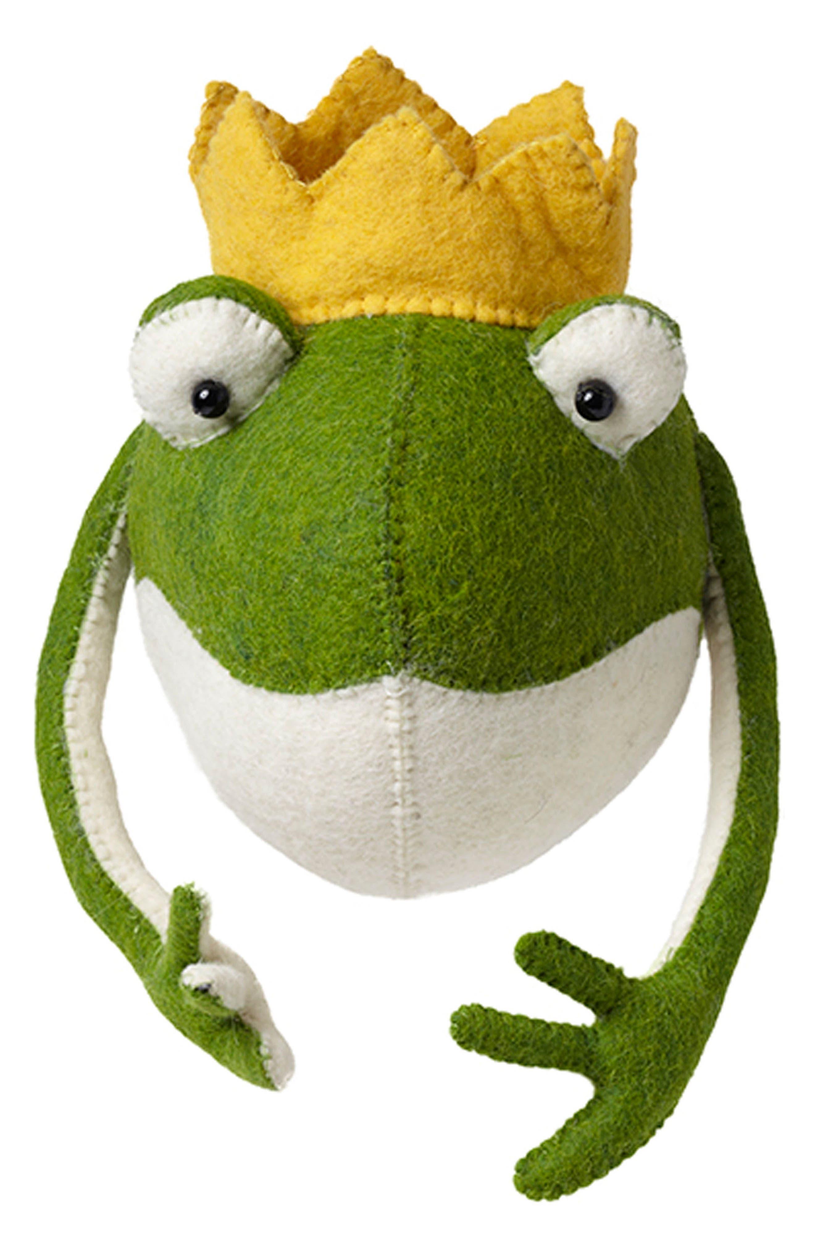 Frog Prince Head Wall Art,                         Main,                         color, Green