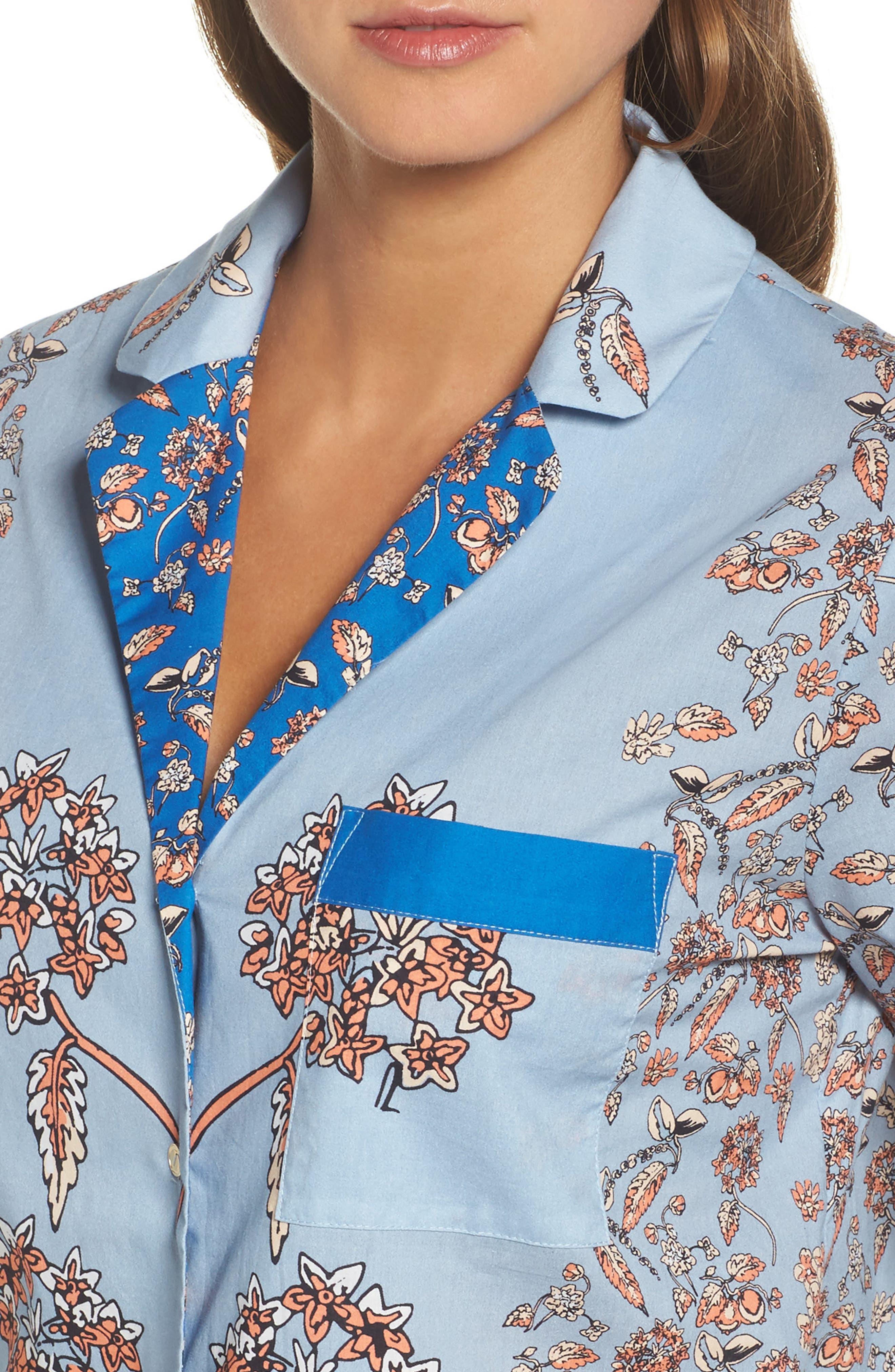 Alternate Image 4  - Yolke Classic Print Cotton Poplin Pajamas