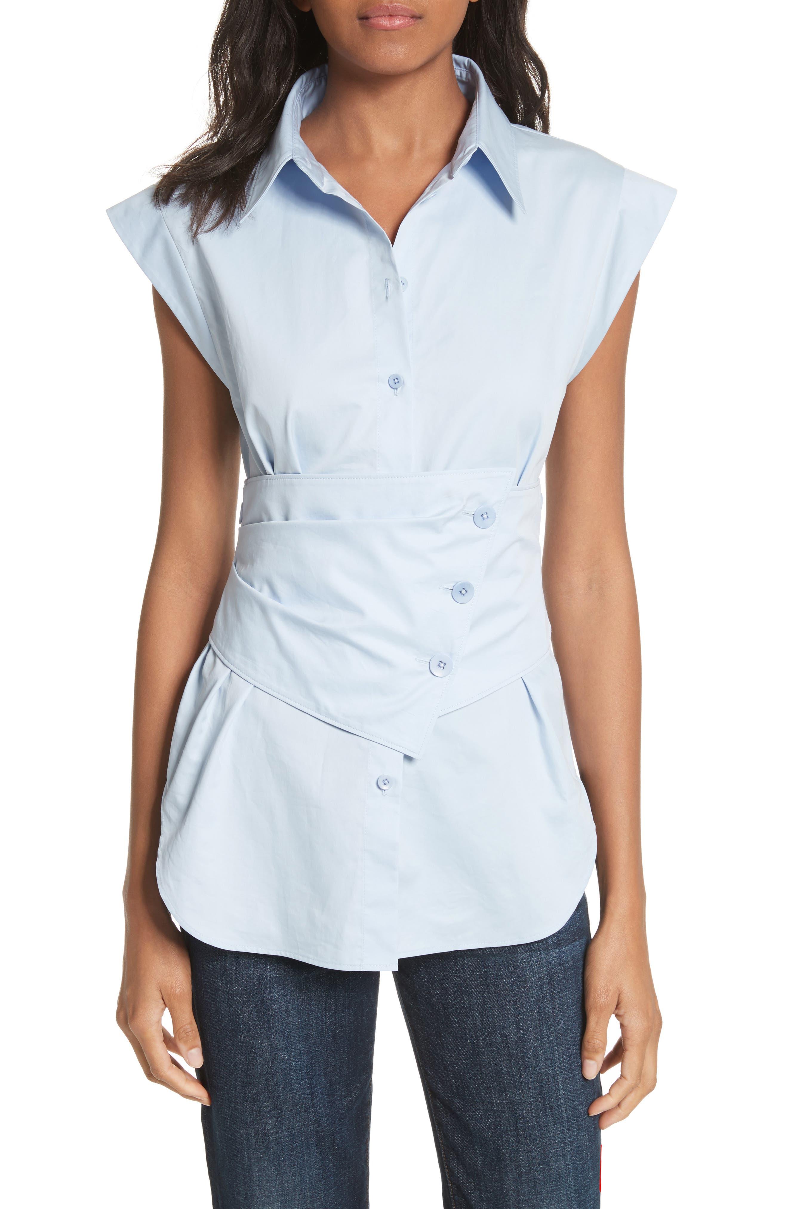 Cap Sleeve Corset Shirt,                             Main thumbnail 1, color,                             Morning Blue