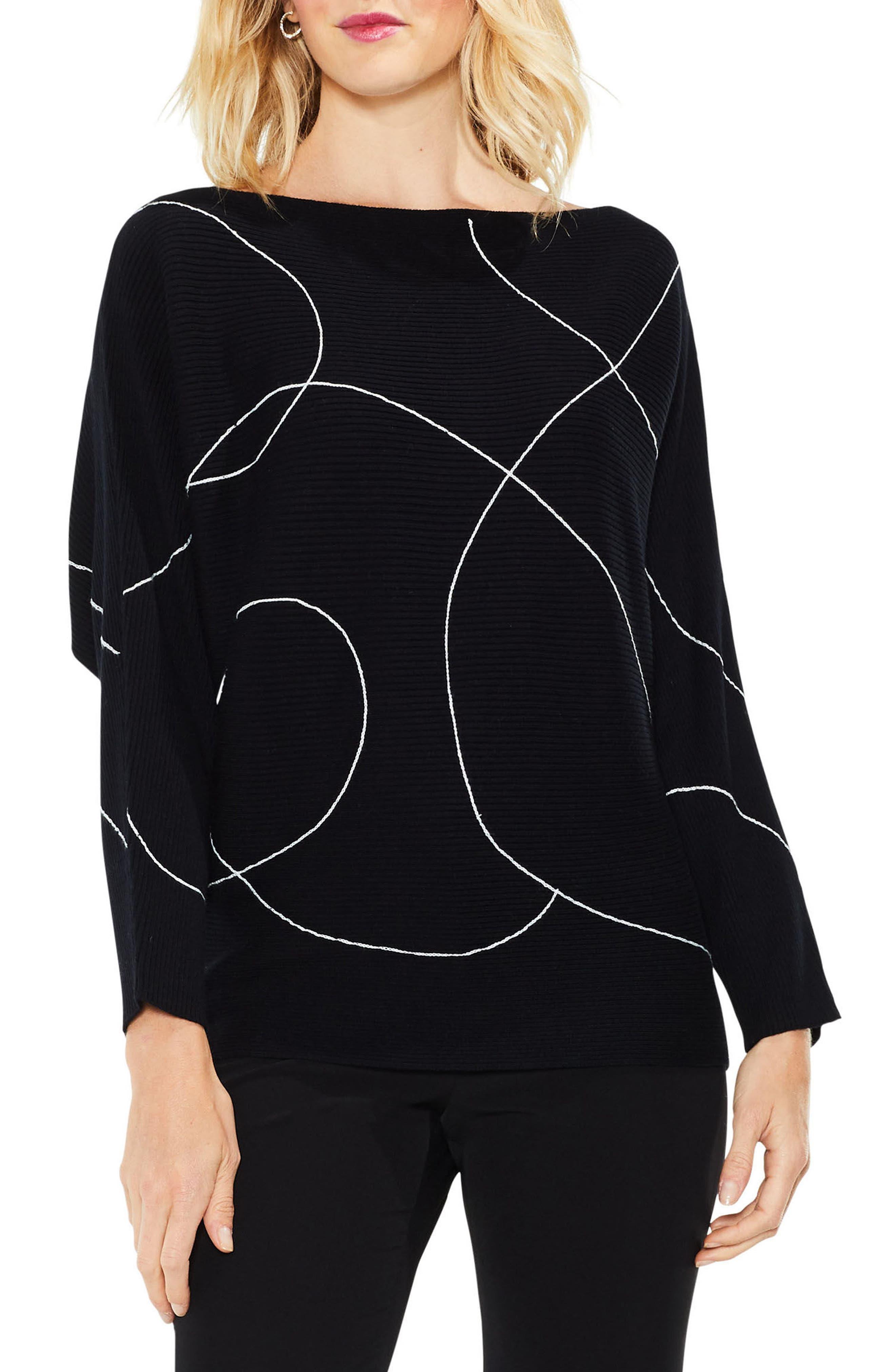 Vince Camuto Ink Swirl Ribbed Sweater (Regular & Petite)