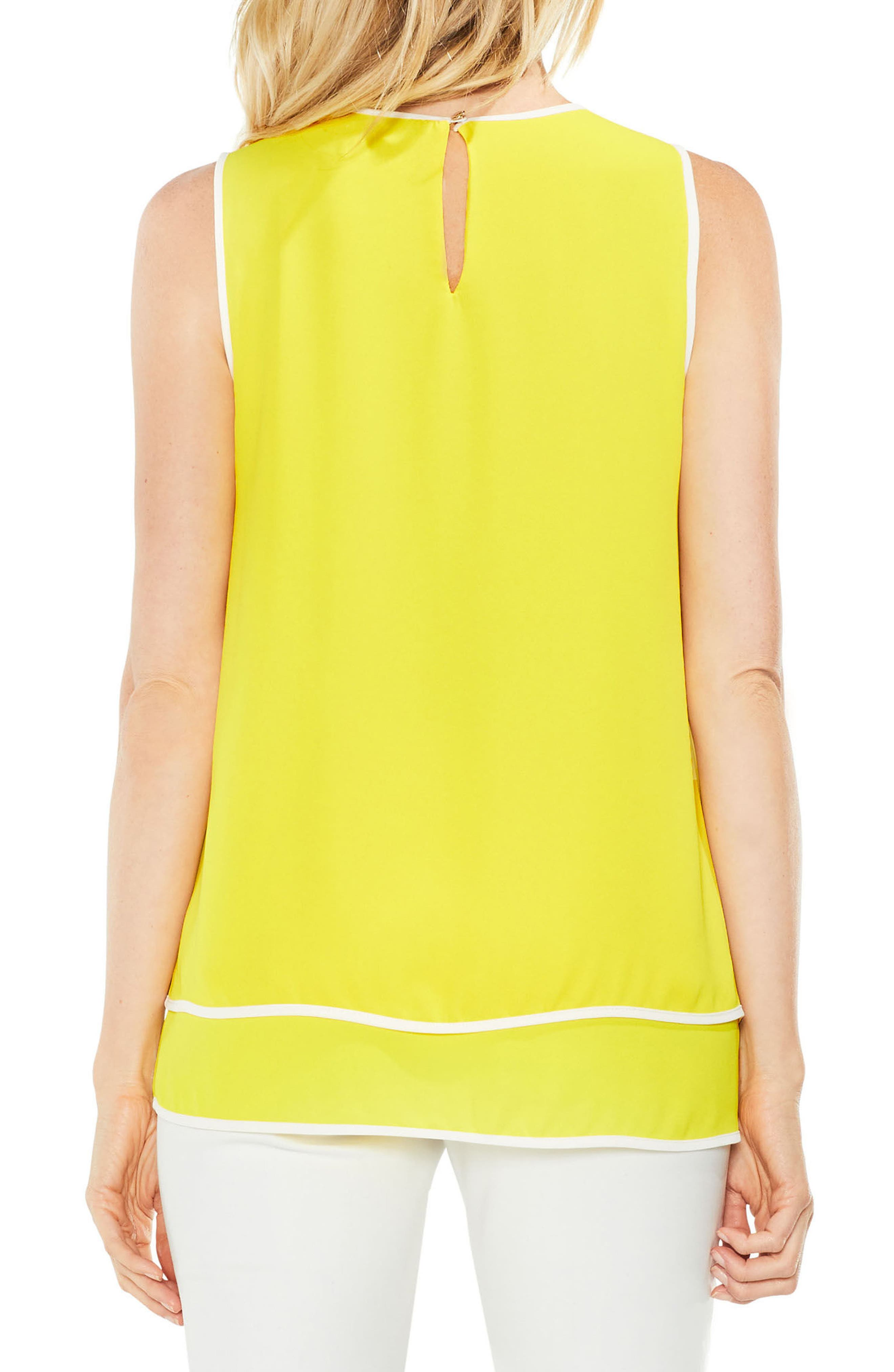 Double-Layer Colorblock Top,                             Alternate thumbnail 2, color,                             Cabana Yellow