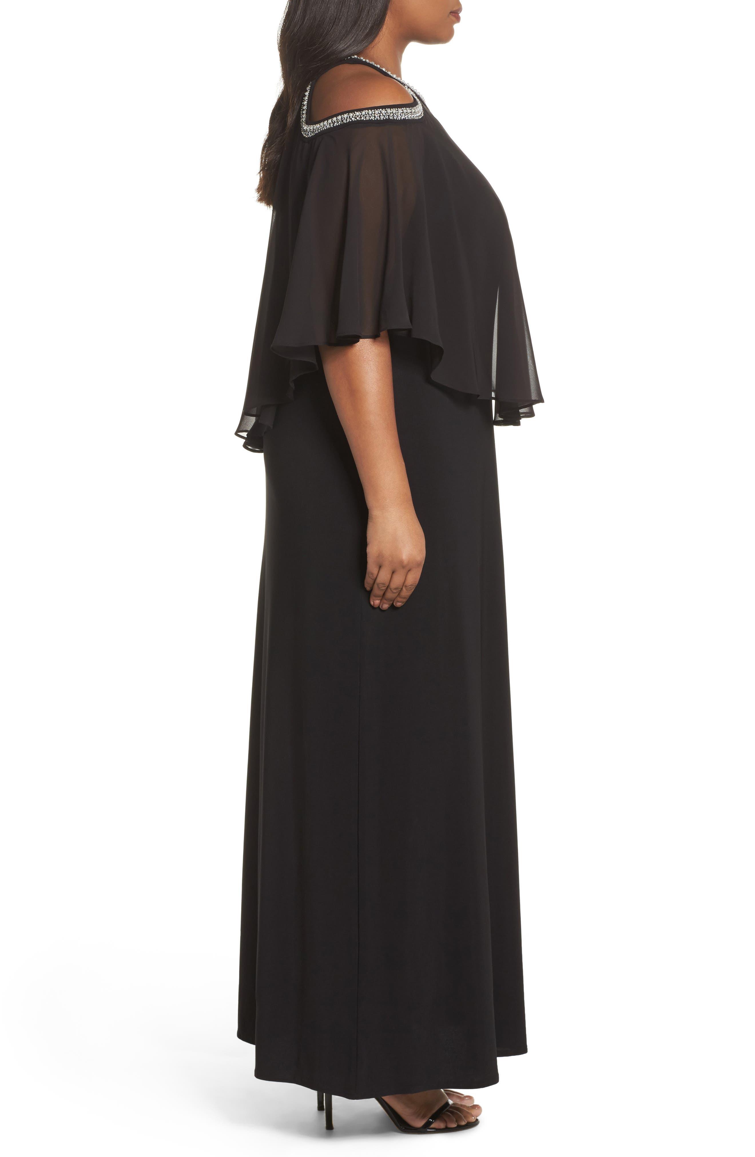 Embellished Cold Shoulder Popover Gown,                             Alternate thumbnail 3, color,                             Black