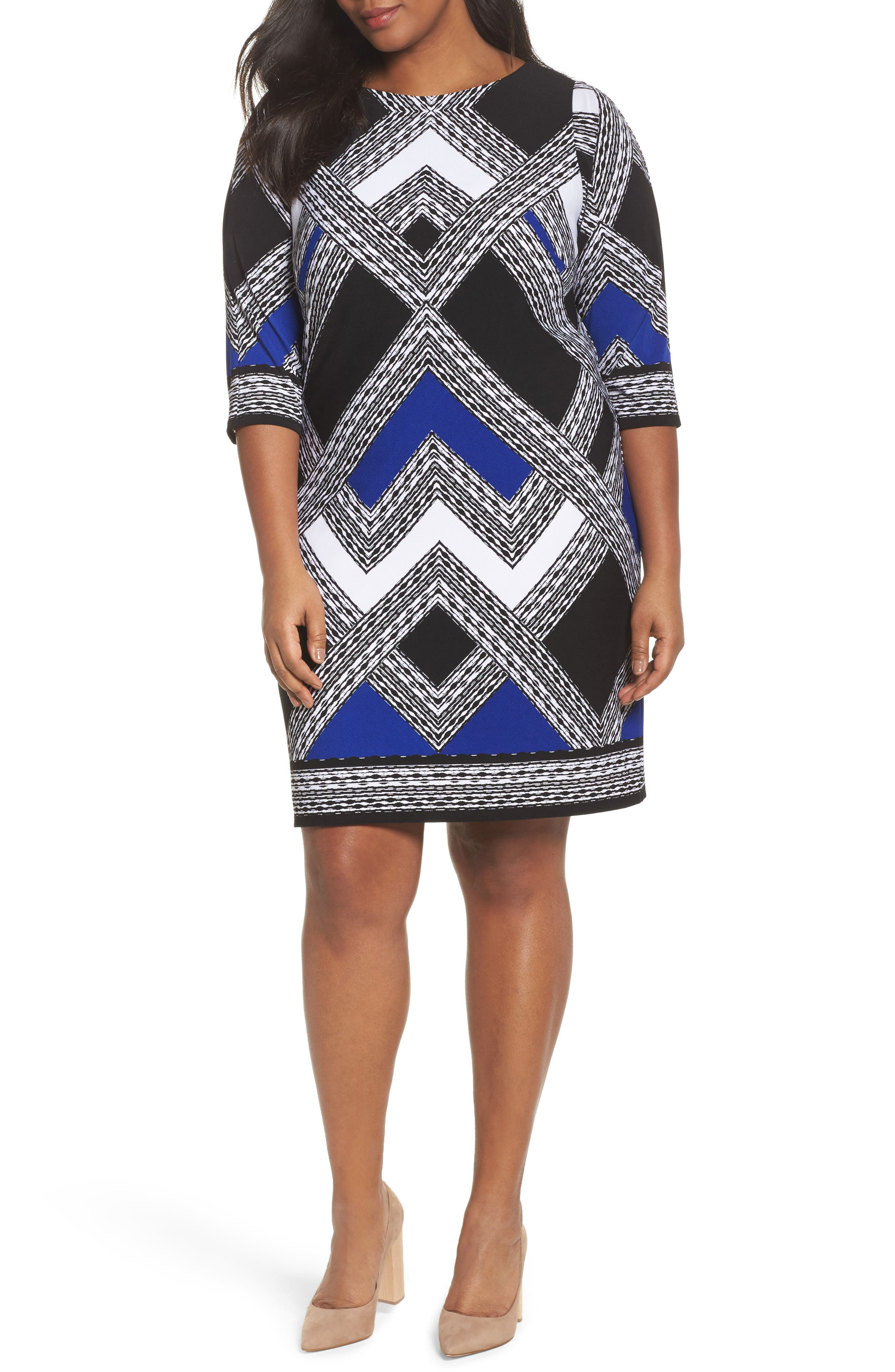 Geo Print Shift Dress,                         Main,                         color, Black/ Cobalt