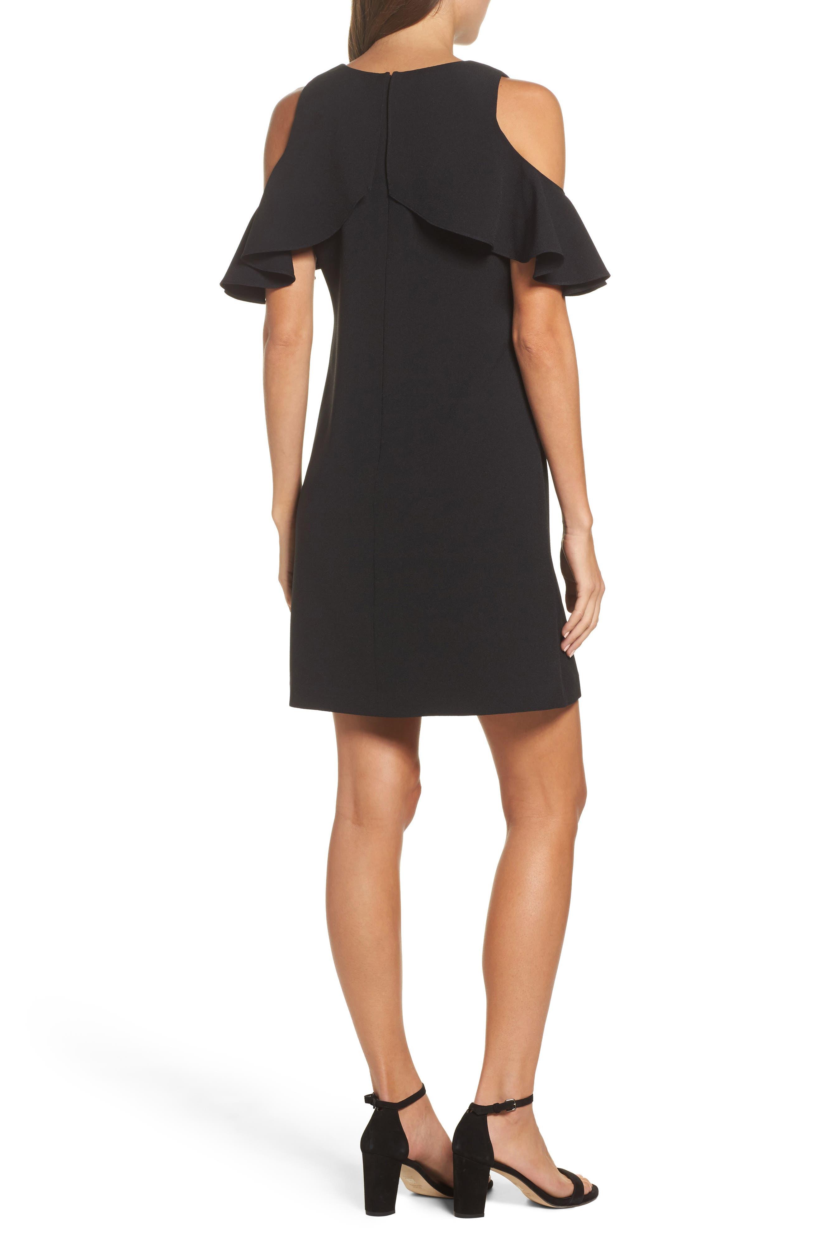 Cold Shoulder Crepe Shift Dress,                             Alternate thumbnail 2, color,                             Black