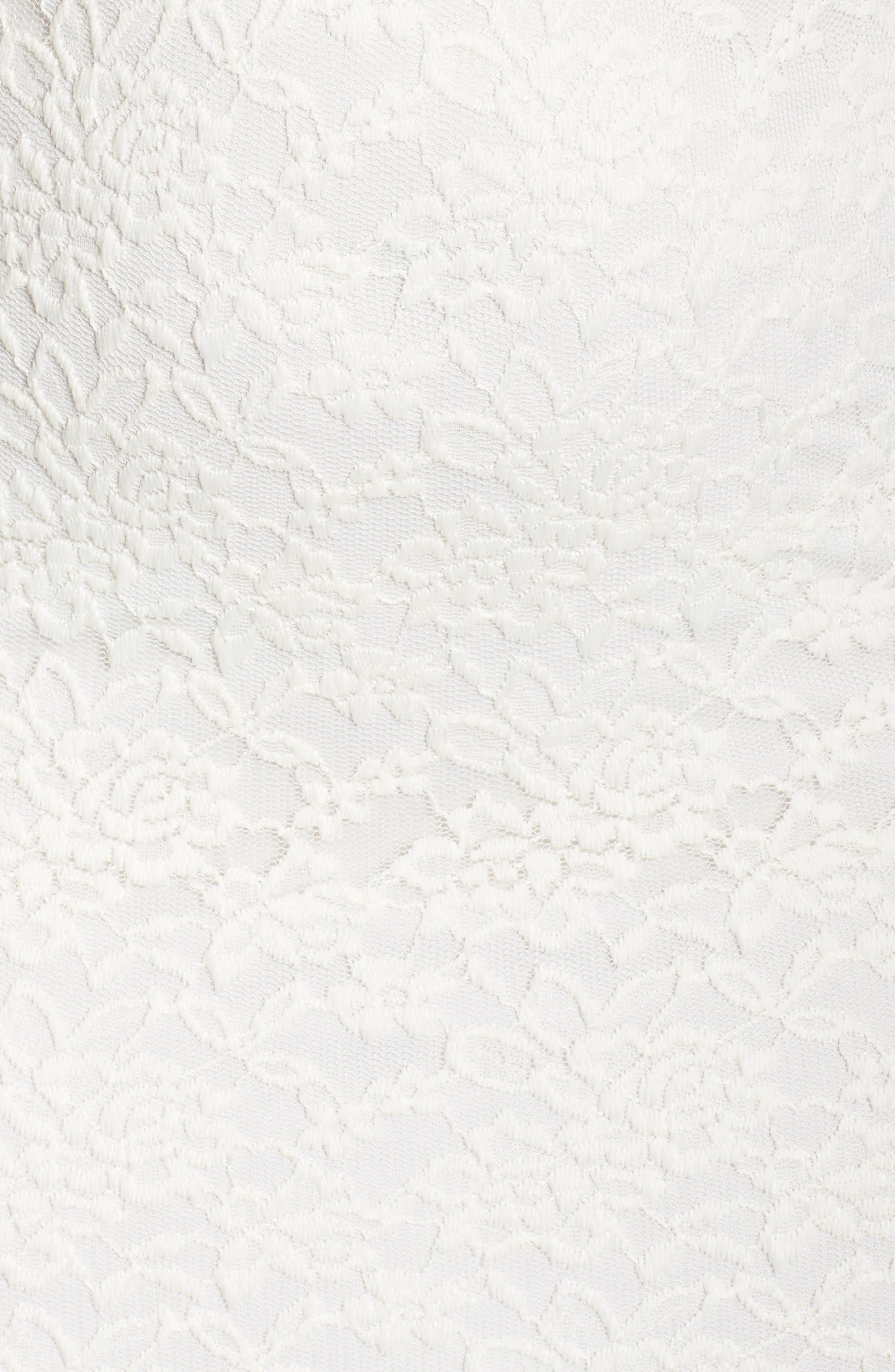 Lace Body-Con Midi Dress,                             Alternate thumbnail 5, color,                             Off White