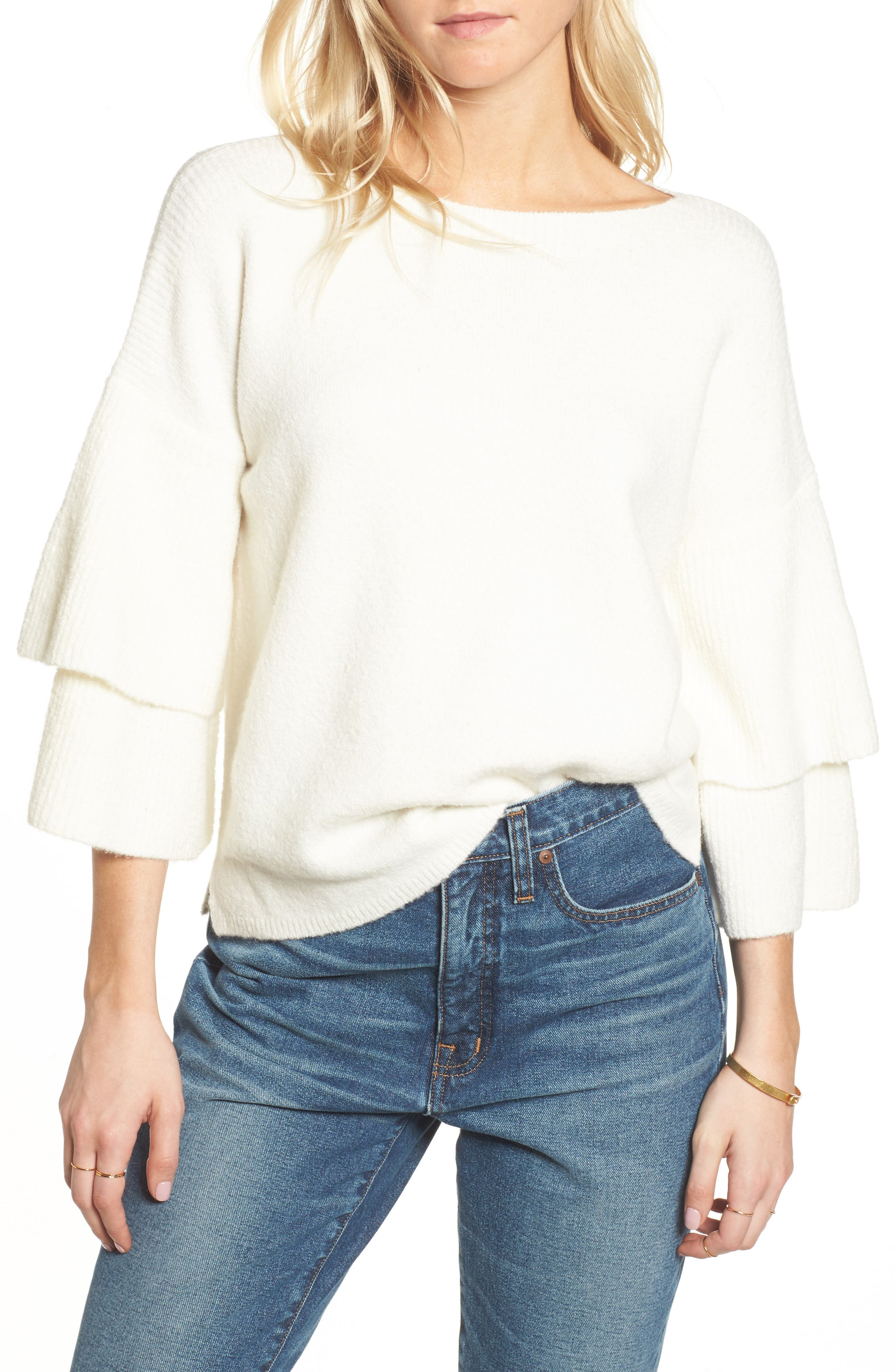 Tier Sleeve Sweater,                         Main,                         color, Antique Cream