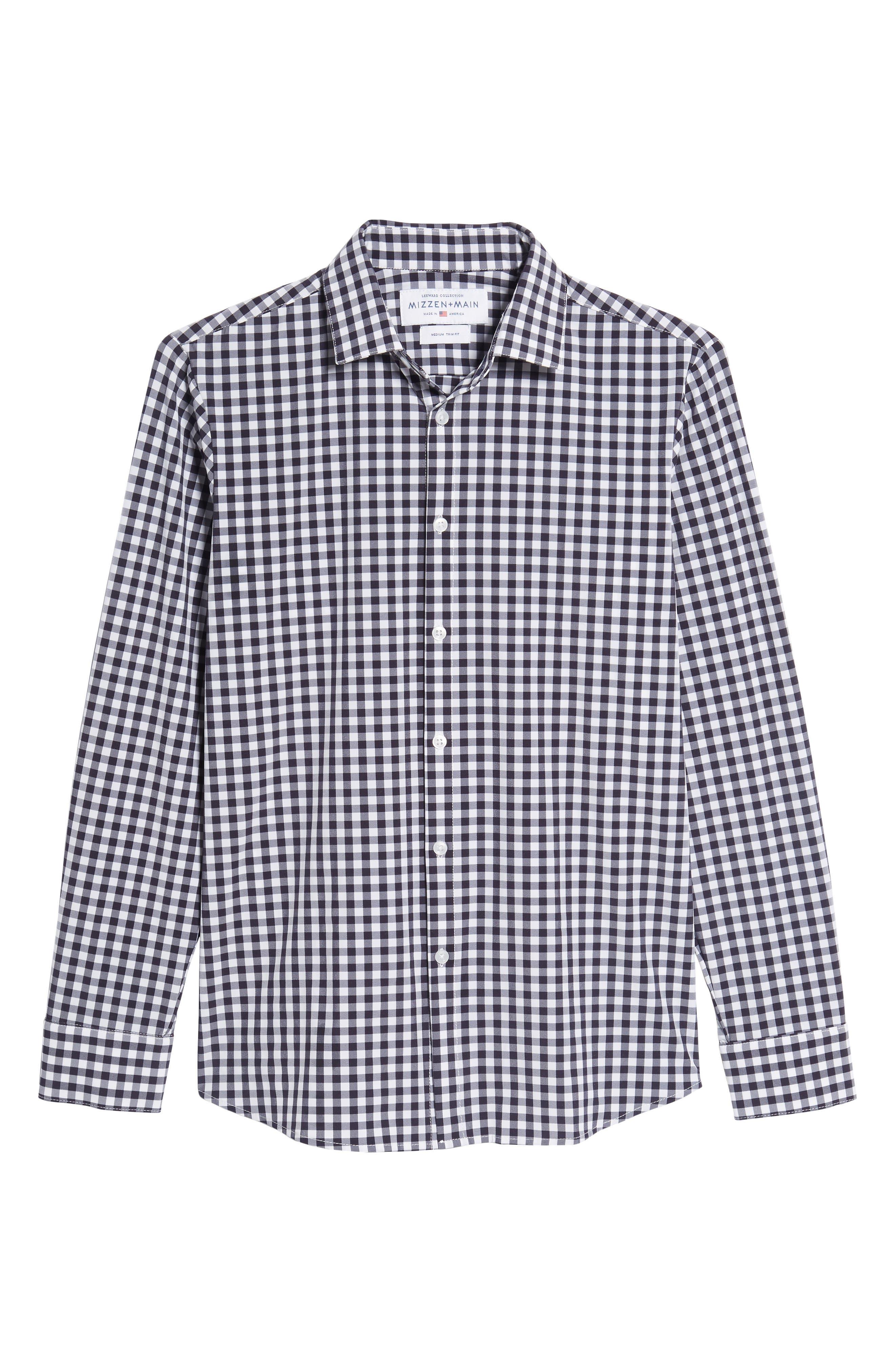 Montauk Slim Fit Gingham Performance Sport Shirt,                             Alternate thumbnail 6, color,                             Navy