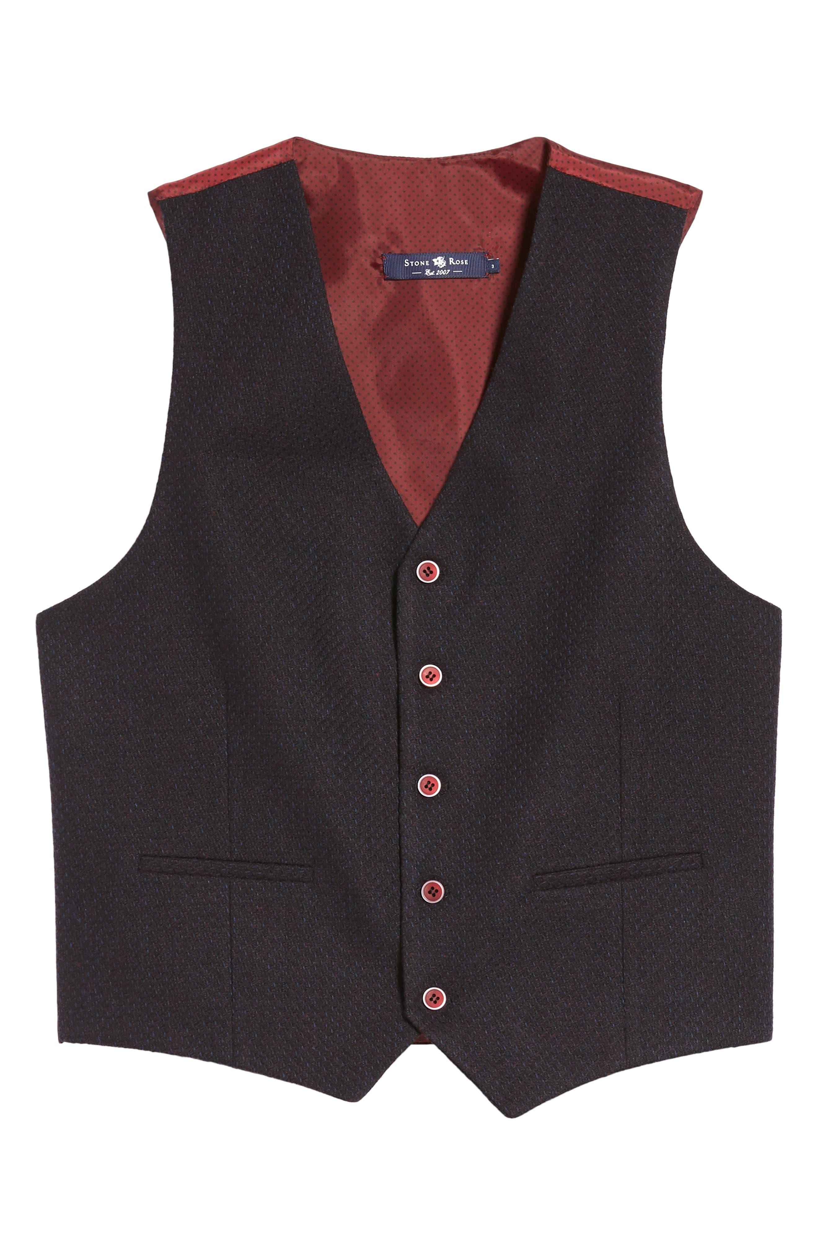 Textured Wool Blend Vest,                             Alternate thumbnail 6, color,                             Burgundy