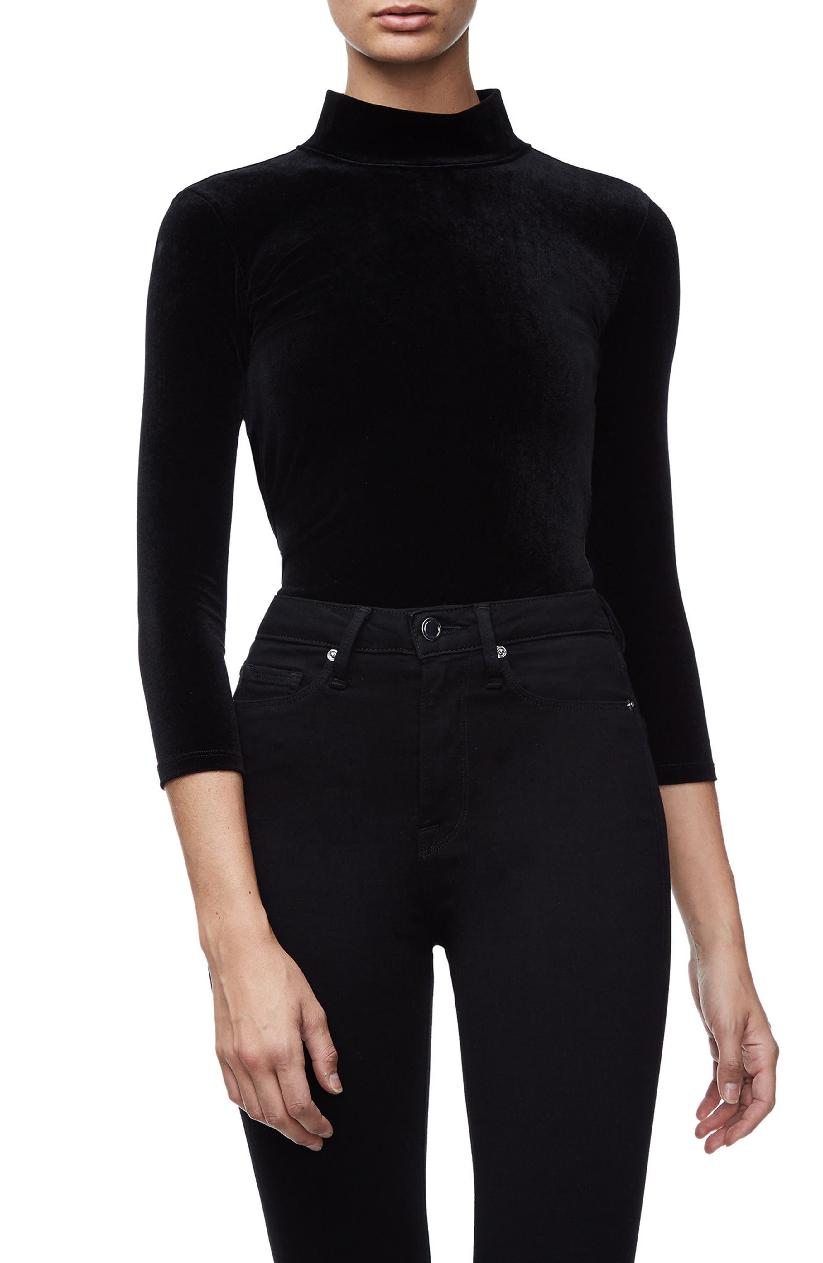 Main Image - Good American Backless Velvet Bodysuit (Regular & Plus Size)