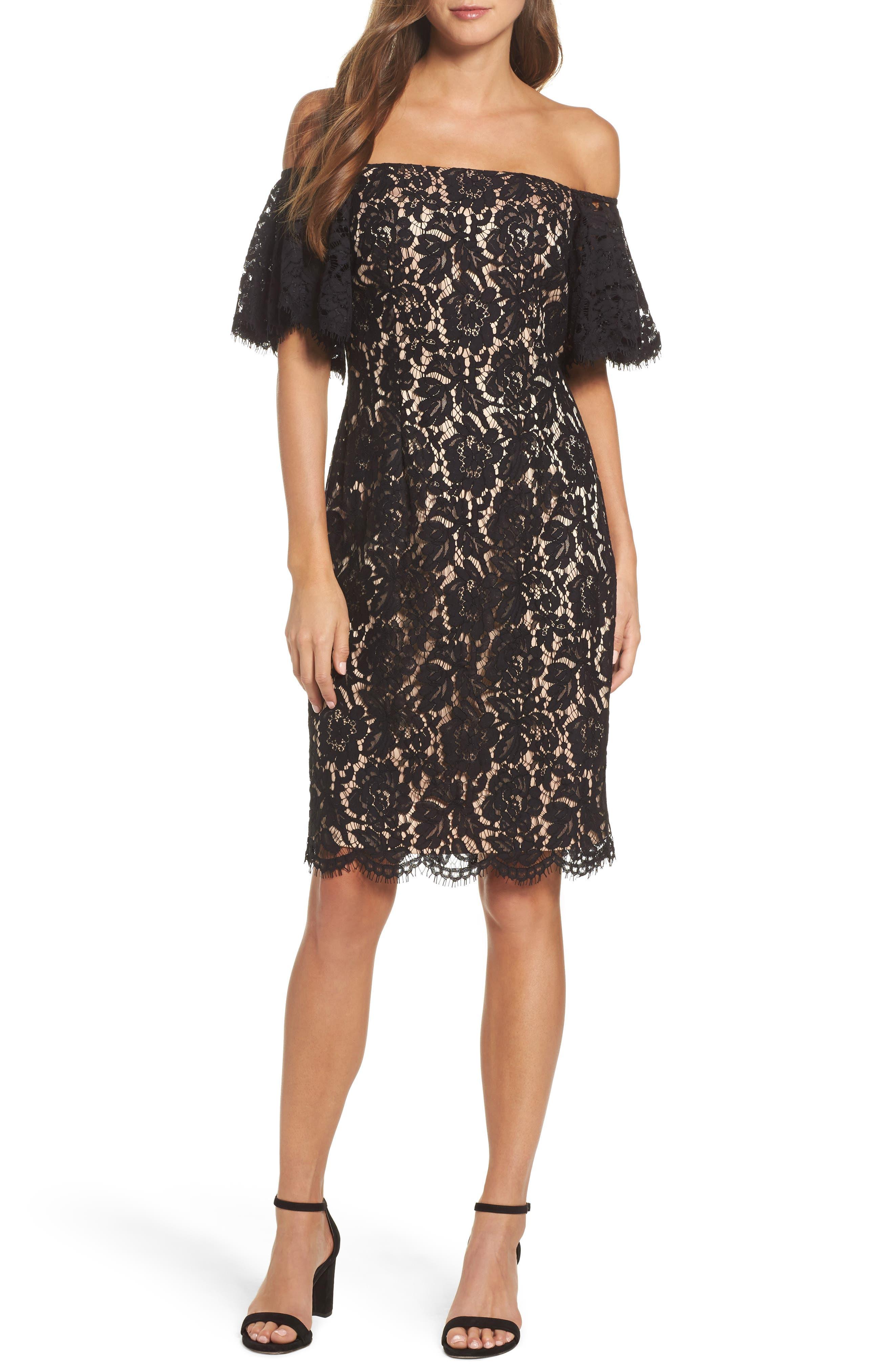 Off the Shoulder Lace Dress,                         Main,                         color, Black/ Nude Combo