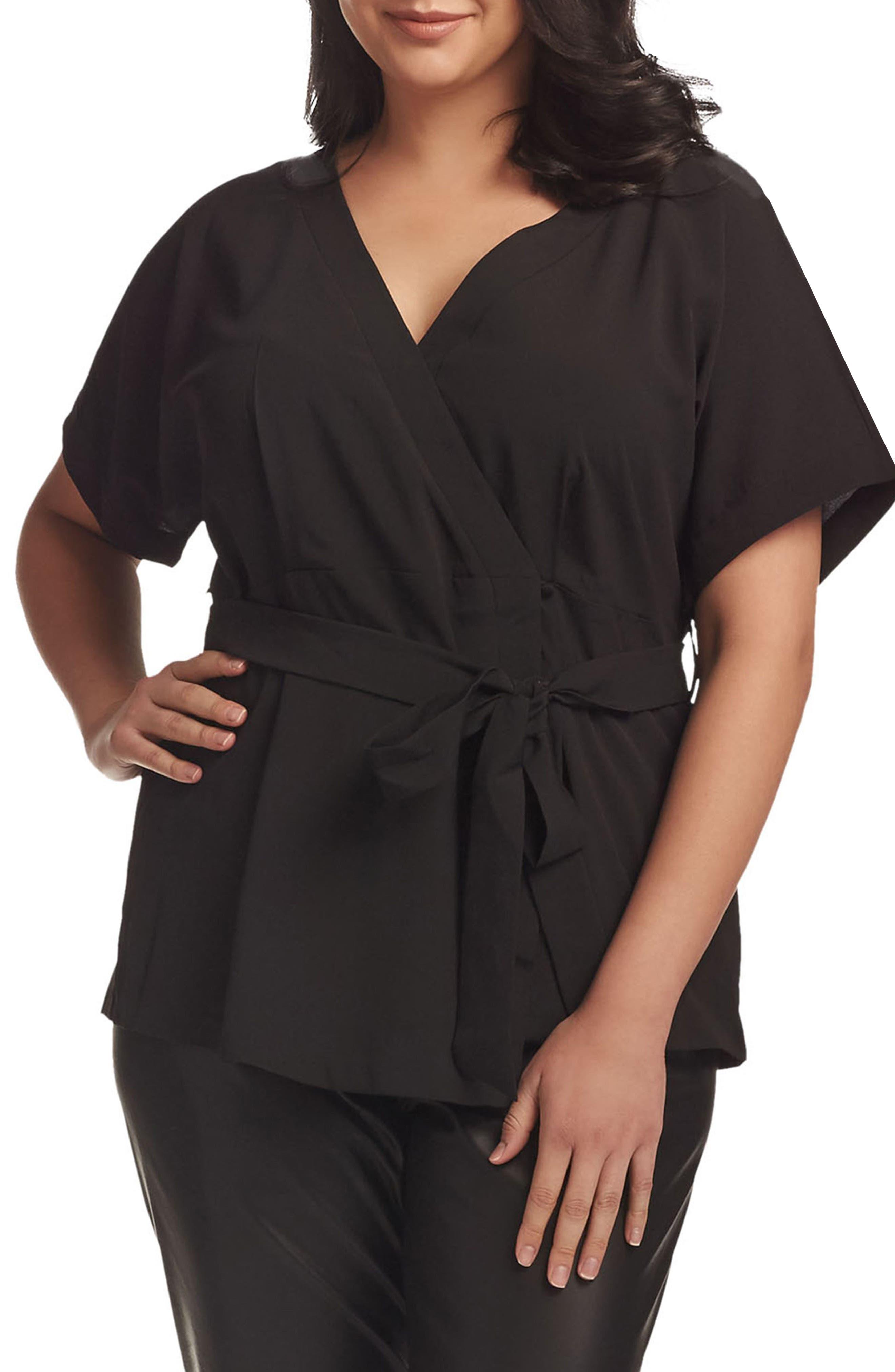 Ann Wrap Top,                         Main,                         color, Black