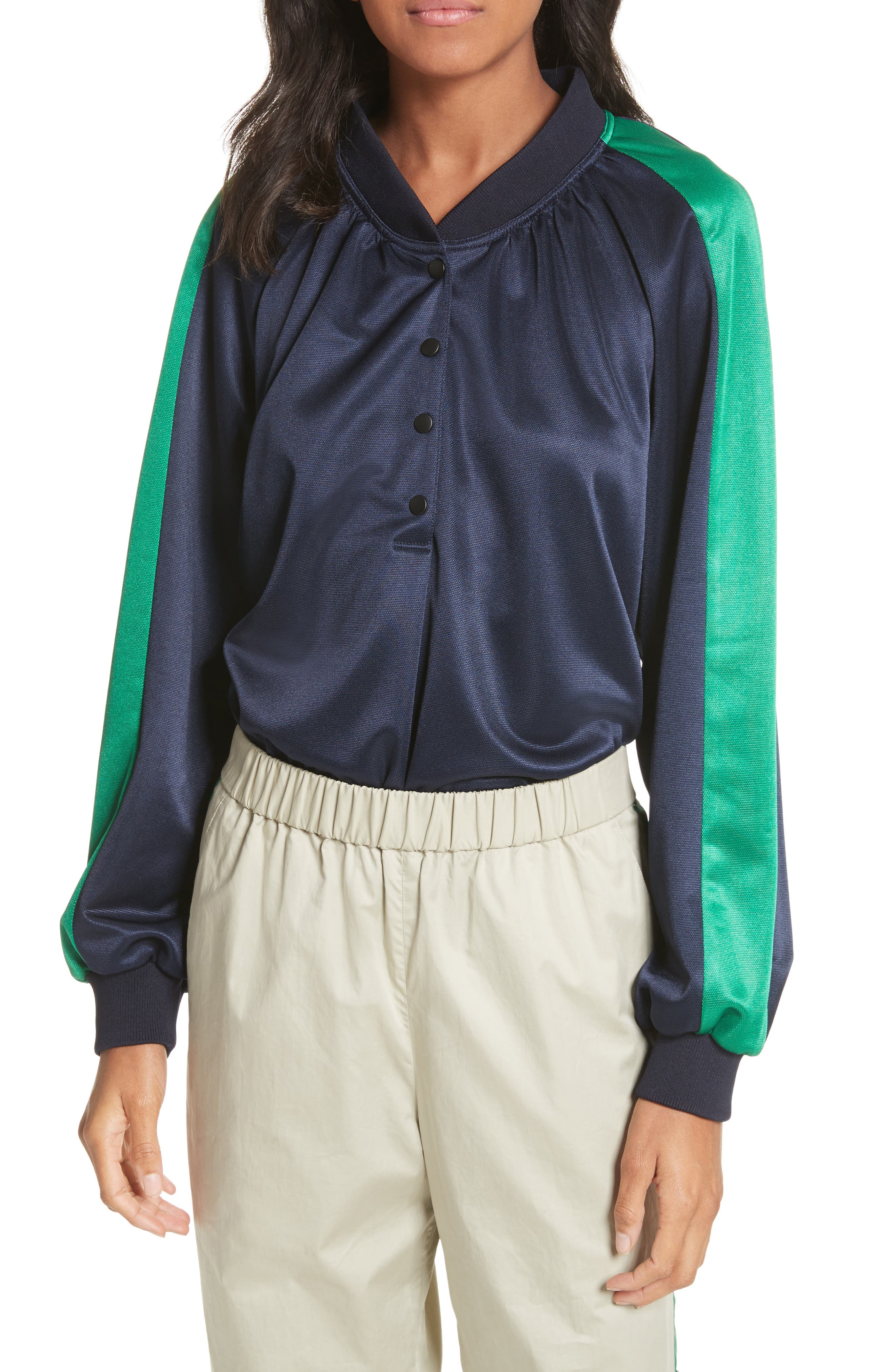 Pullover Track Jacket,                         Main,                         color, Navy/ Green Multi