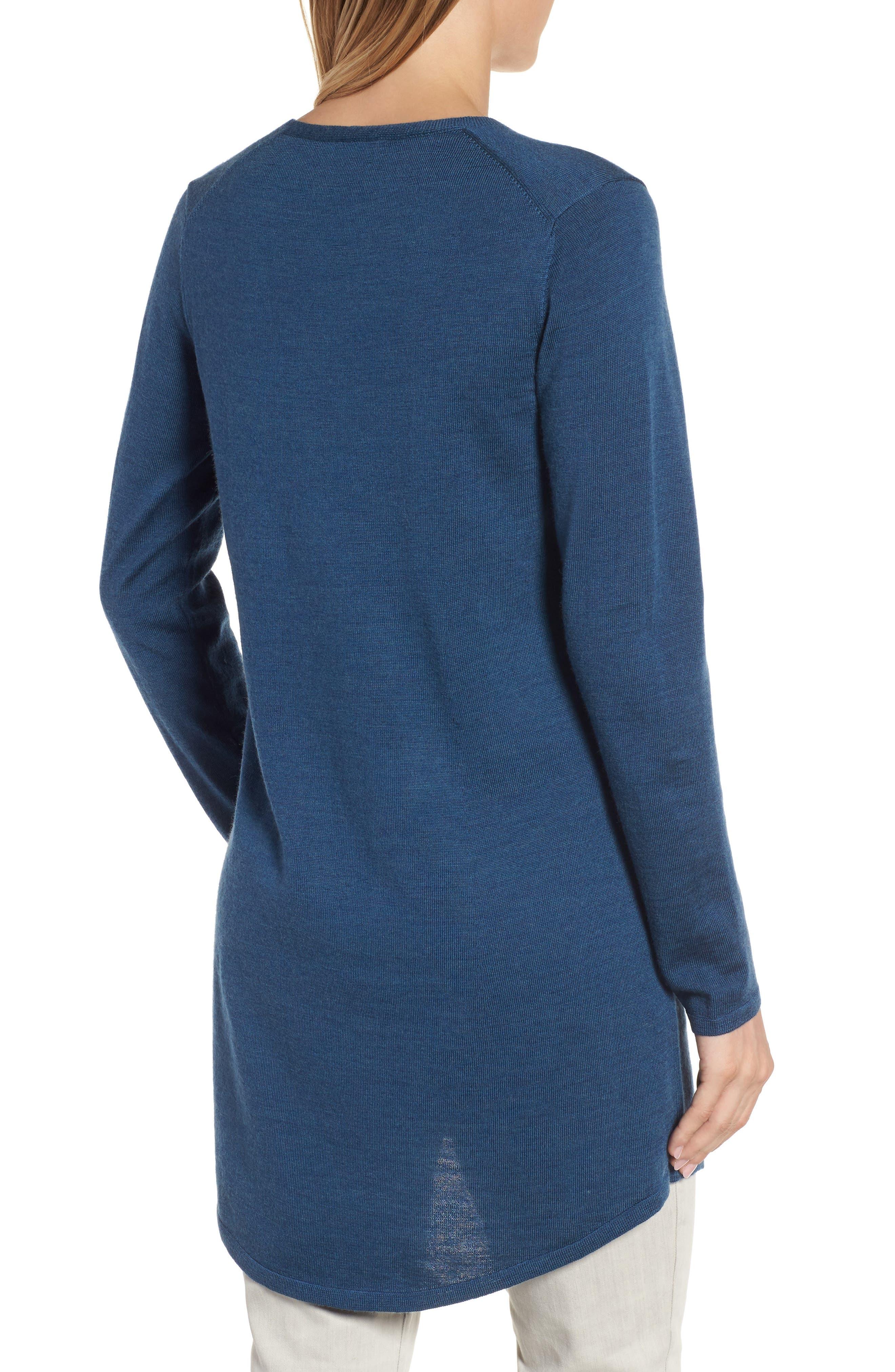 Alternate Image 2  - Eileen Fisher Lightweight Merino Jersey V-Neck Tunic (Regular & Petite)