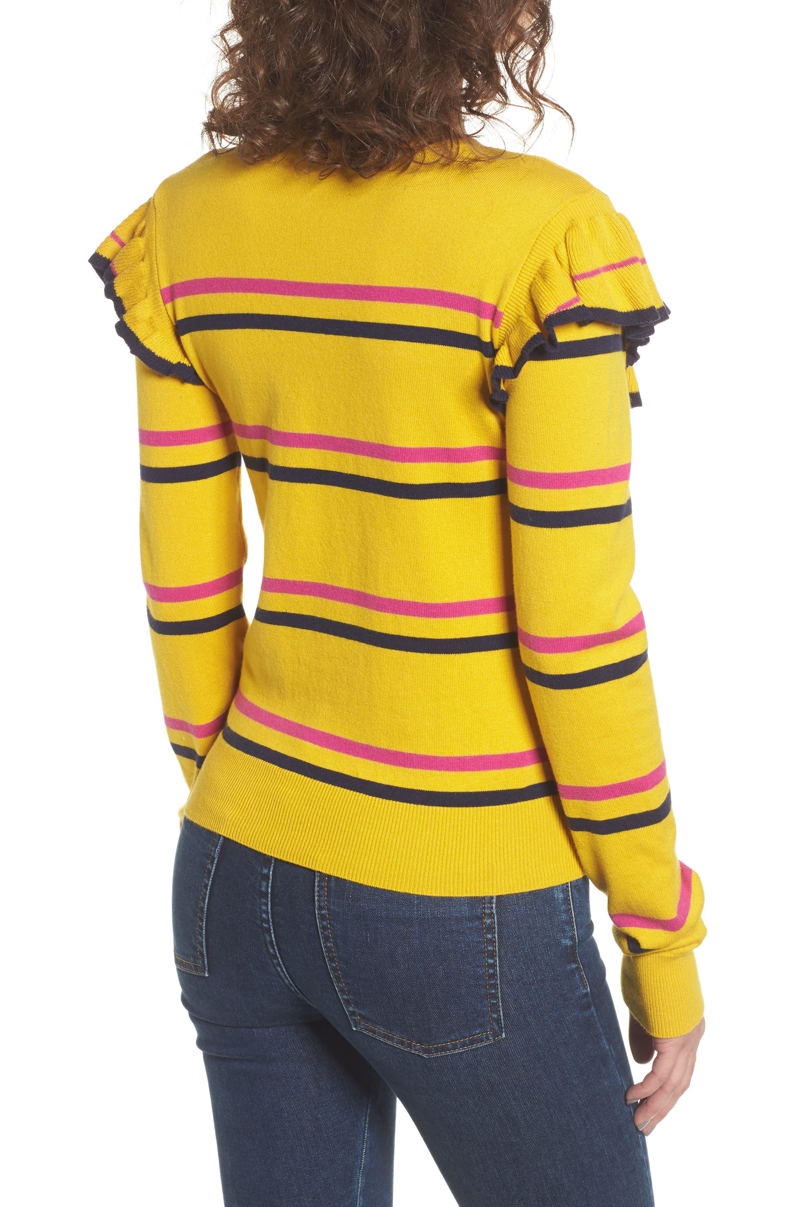 Ruffle Yoke Sweater,                             Alternate thumbnail 3, color,                             Yellow Sulfur Margret Stripe