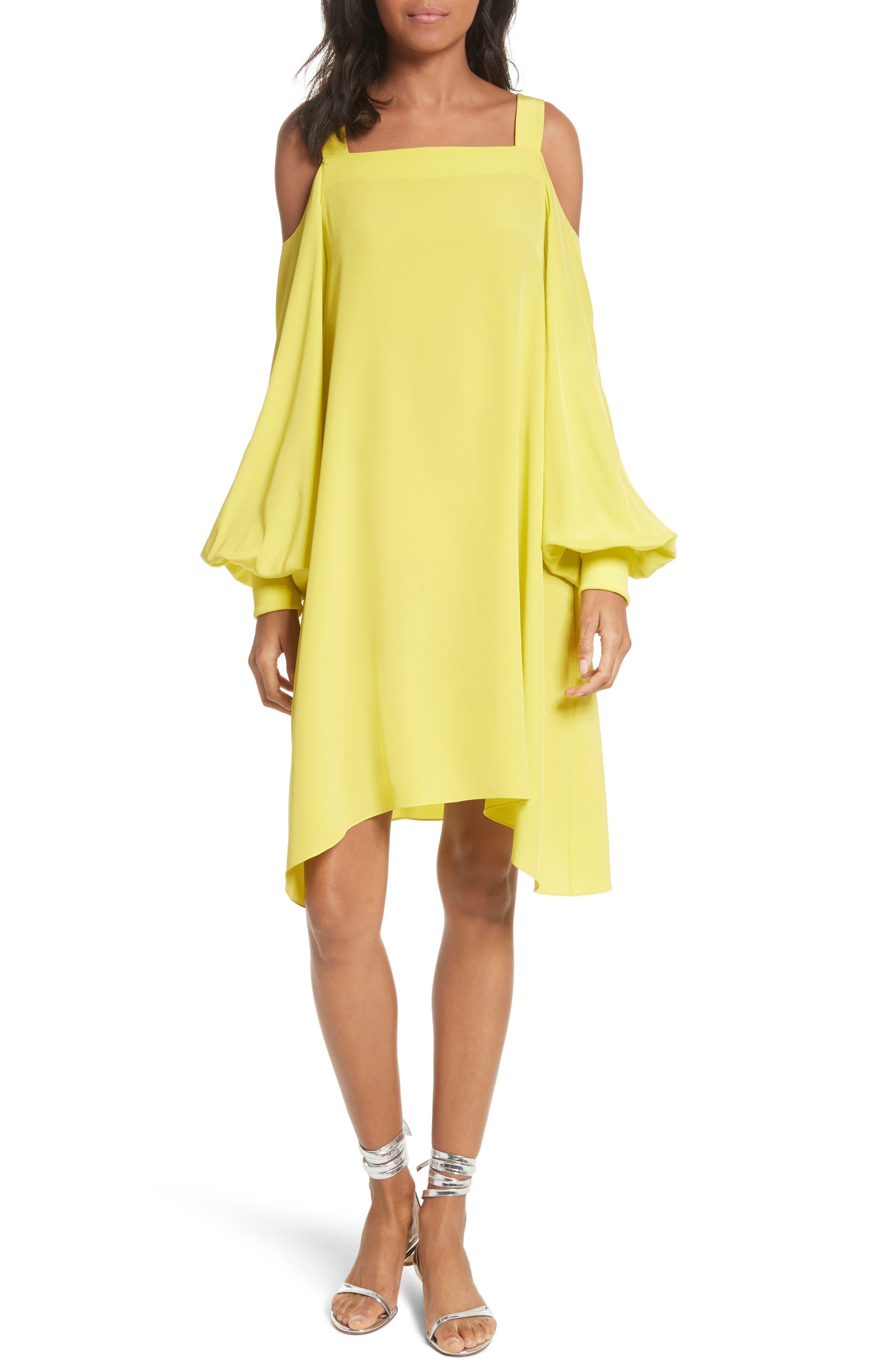 Strappy Back Silk Dress,                             Main thumbnail 1, color,                             Vibrant Yellow