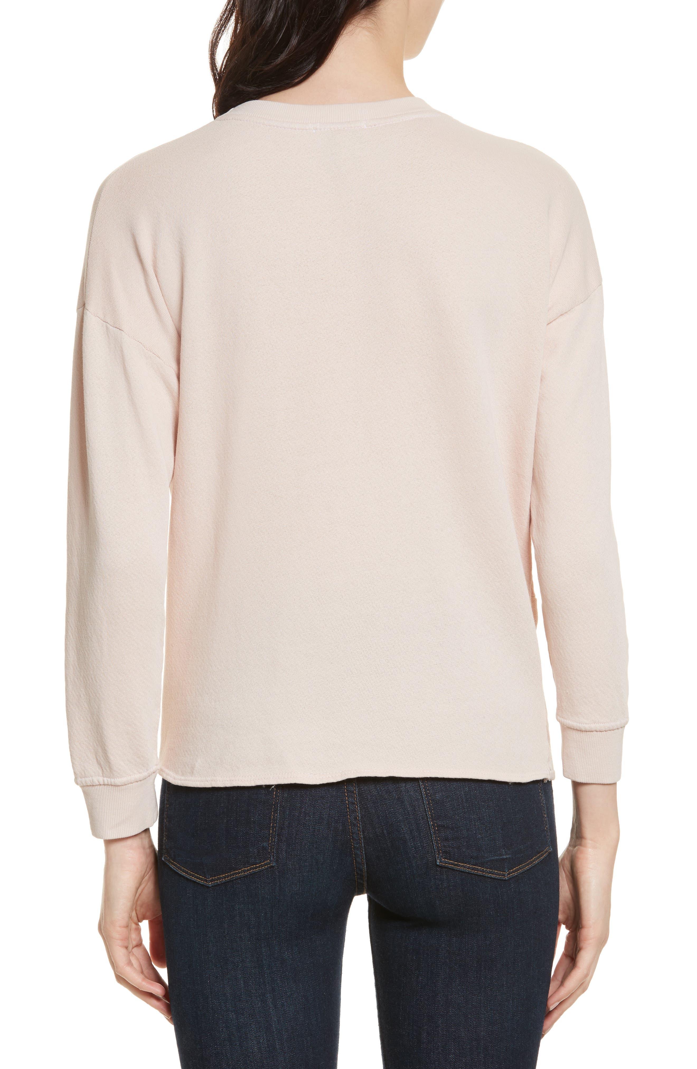 Nazani Twist Front Sweatshirt,                             Alternate thumbnail 2, color,                             Heather Rose